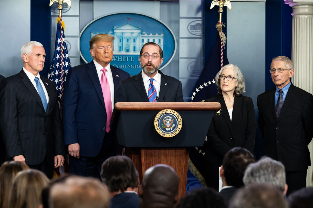 Alex Azar, United States Secretary of Health and Human Services, speaks at a press conference about the Coronavirus on Feb. 26, 2020.