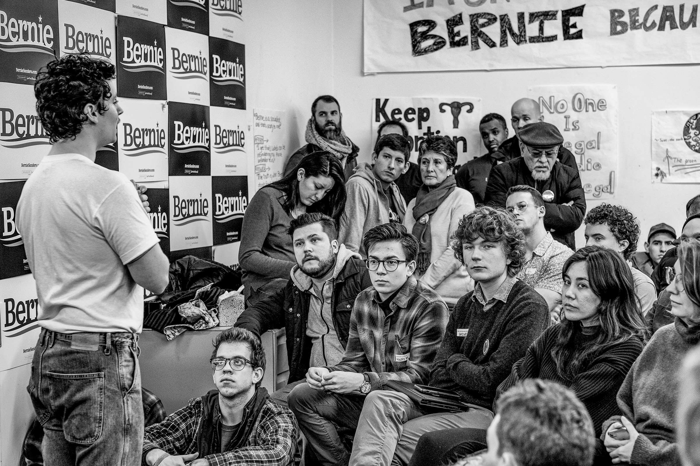 Supporters of Bernie Sanders and canvassers getting a tutorial at at the Bernie 2020 Des Moines Field Office, Jan. 30, 2020.