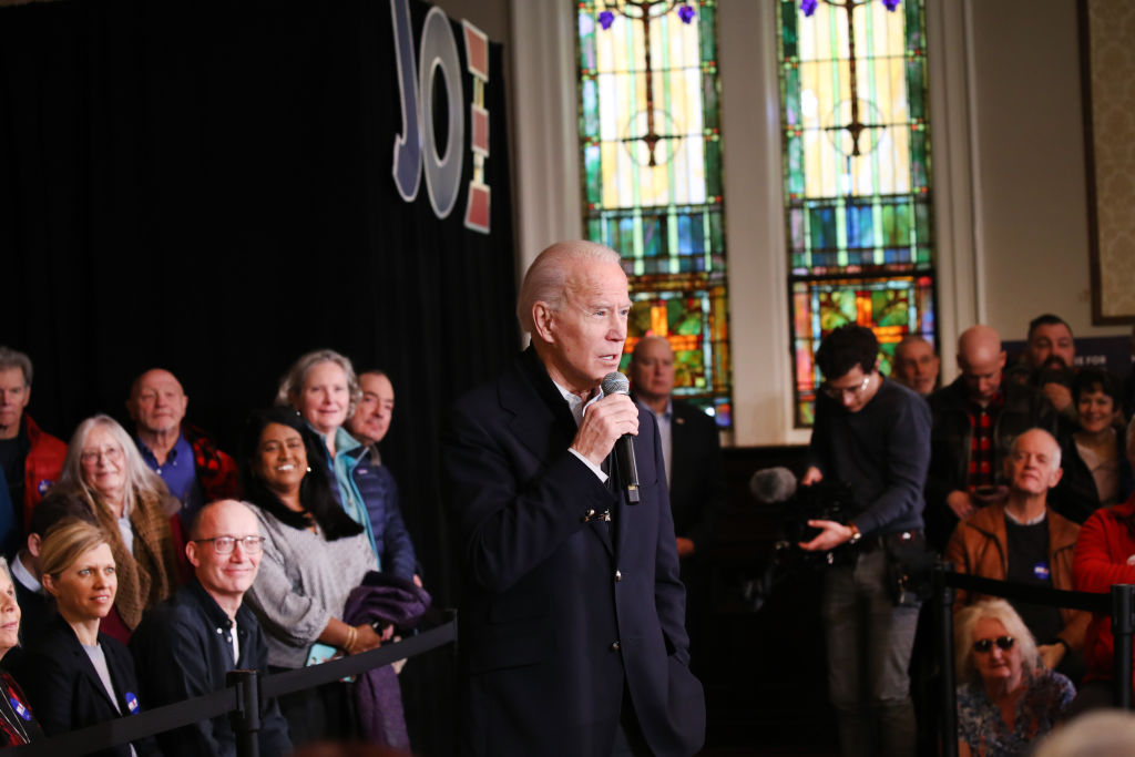 Former Vice President Joe Biden speaks at an event on February 05  in Somersworth, N.H.