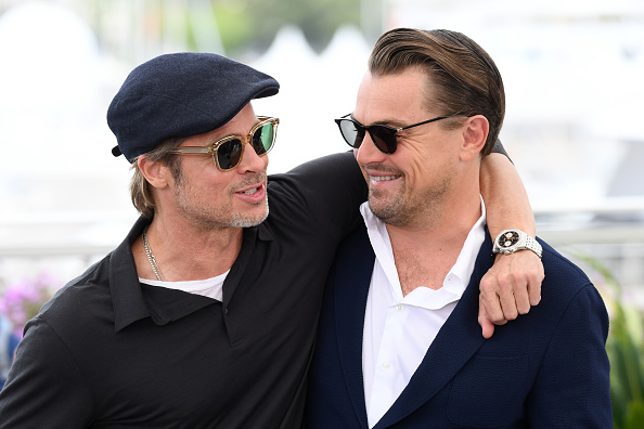 Brad Pitt and Leonardo DiCaprio attend the photocall for  Once Upon A Time...In Hollywood  during the 72nd annual Cannes Film Festival in Cannes, France, on May 22, 2019.