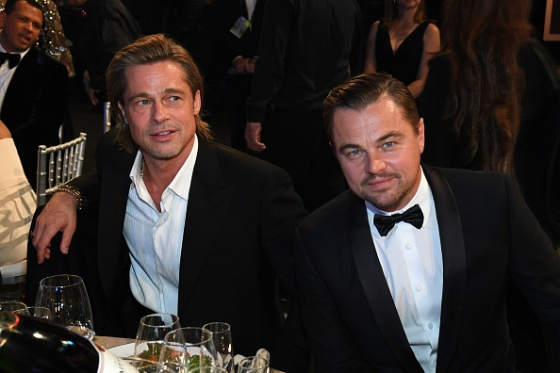 Brad Pitt and Leonardo DiCaprio attend the 26th Annual Screen ActorsGuild Awards at the Shrine Auditorium in Los Angeles, California, on January 19, 2020.