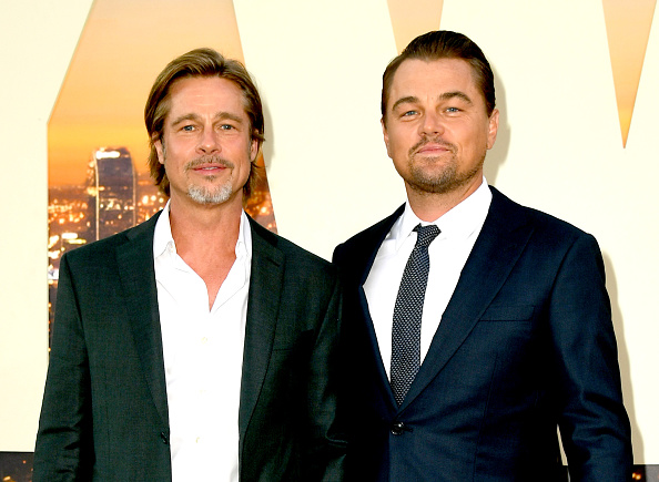 Brad Pitt and Leonardo DiCaprio arrive at the premiere of Sony Pictures'  Once Upon A Time...In Hollywood  at the Chinese Theatre in Hollywood, California, on July 22, 2019.