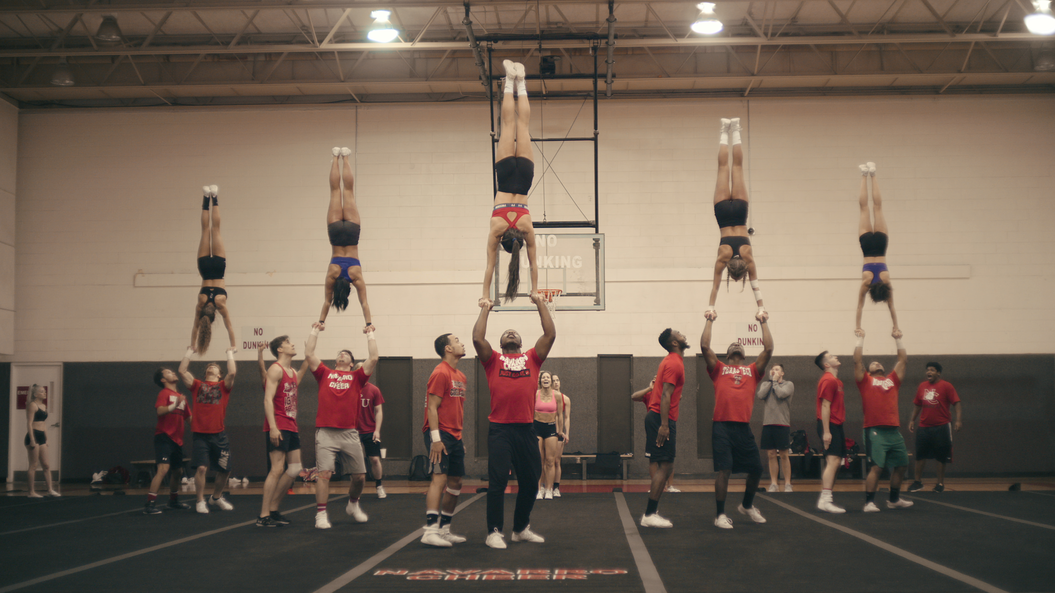 The Navarro cheerleaders practice their routine in the docuseries 'Cheer.'