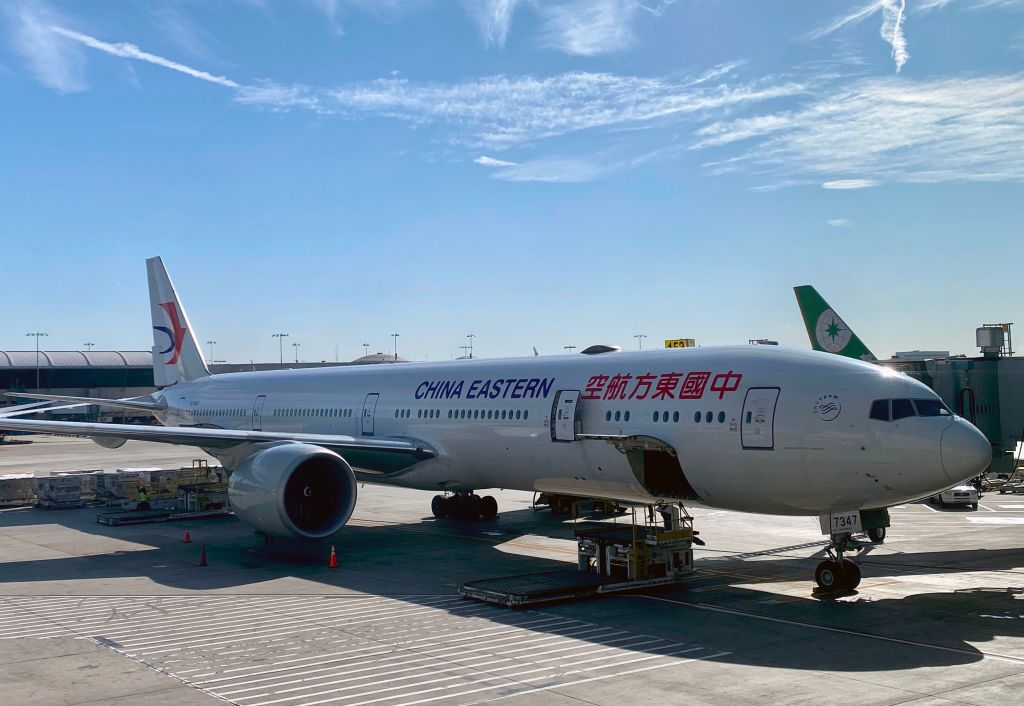 A China Eastern plane is viewed  at Los Angeles International Airport (LAX) on Feb. 12, 2020 in Los Angeles, California.