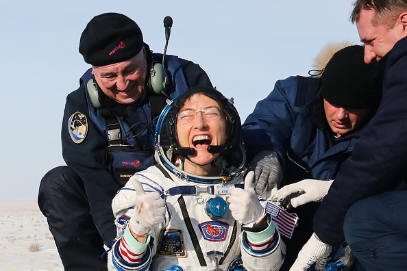 NASA astronaut Christina Koch after the landing of the space capsule of the Soyuz MS-13 spacecraft carrying the ISS Expedition 61 crew members in a steppe, 147 km southwest of the city of Zhezqazghan, Kazakhstan, on Feb. 6, 2020.