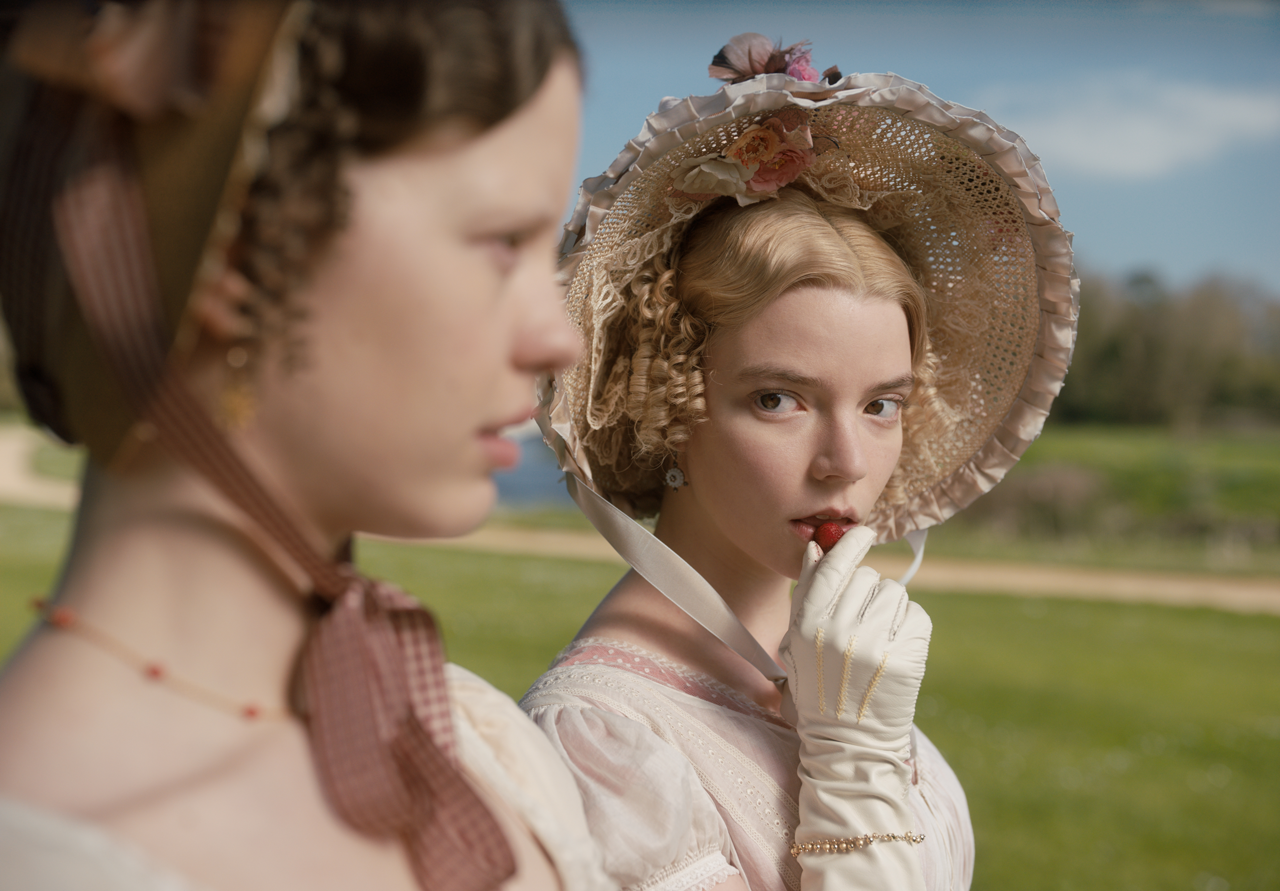 Mia Goth (left) as Harriet Smith and Anya Taylor-Joy (right) as Emma Woodhouse in a new adaptation of Jane Austen's 'Emma.'