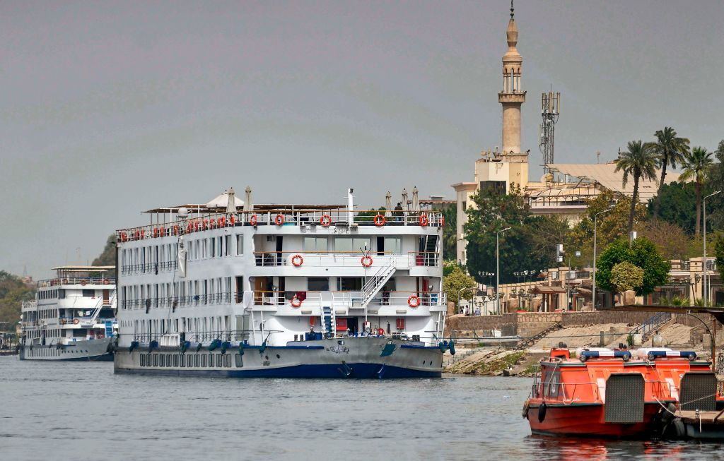 The  A Sara  Nile cruise ship moored off the river bank of Egypt's southern city of Luxor, where 45 people tested positive for the coronavirus.