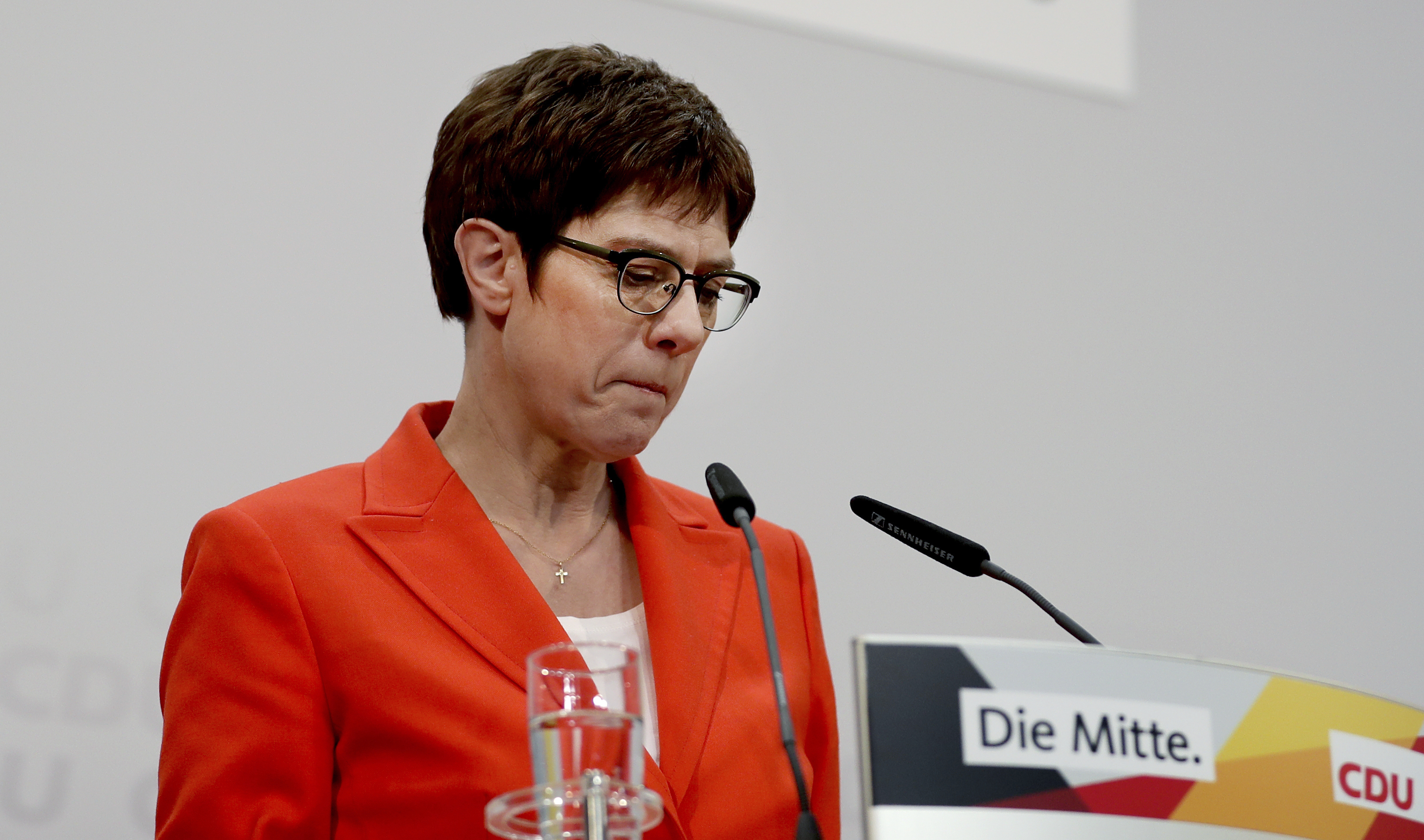 Annegret Kramp-Karrenbauer, chair of the German Christian Democratic Union (CDU), holds a press conference at the party's headquarters in Berlin, Germany on Feb. 7, 2020.