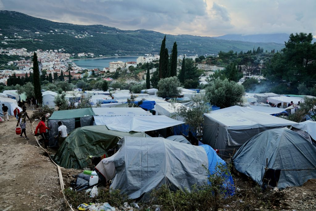 Looking over the 'Mount Syria' refugee camp located on a hillside above Samos Town on Samos, Greece.