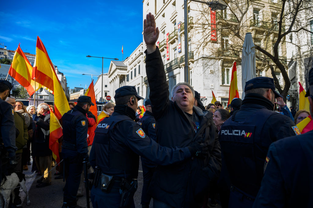 Far right wing supporter making a nazi salute protesting outside Spanish Parliament during the second vote of the investiture against the socialist candidate Pedro Sanchez for the presidency of the government in Madrid, Spain on Jan. 7, 2020.