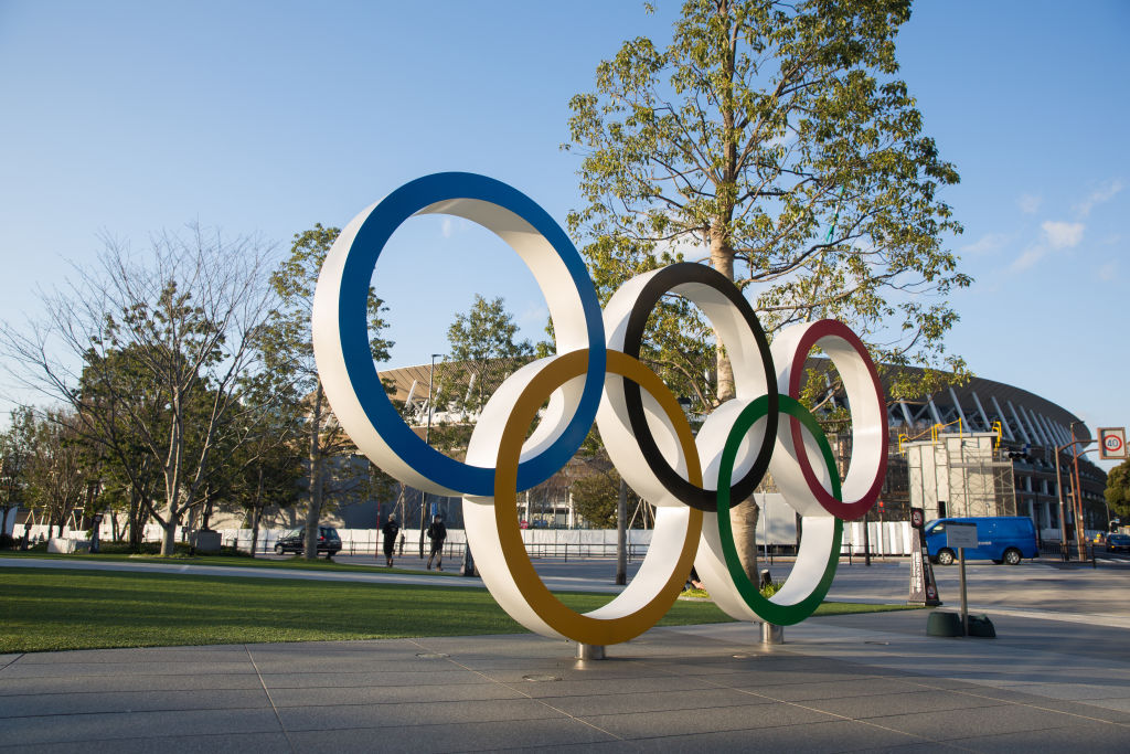 View of the Olympic Rings near the new National Stadium in Kasumigaoka, Shinjuku, Tokyo, Japan on Feb.19, 2020