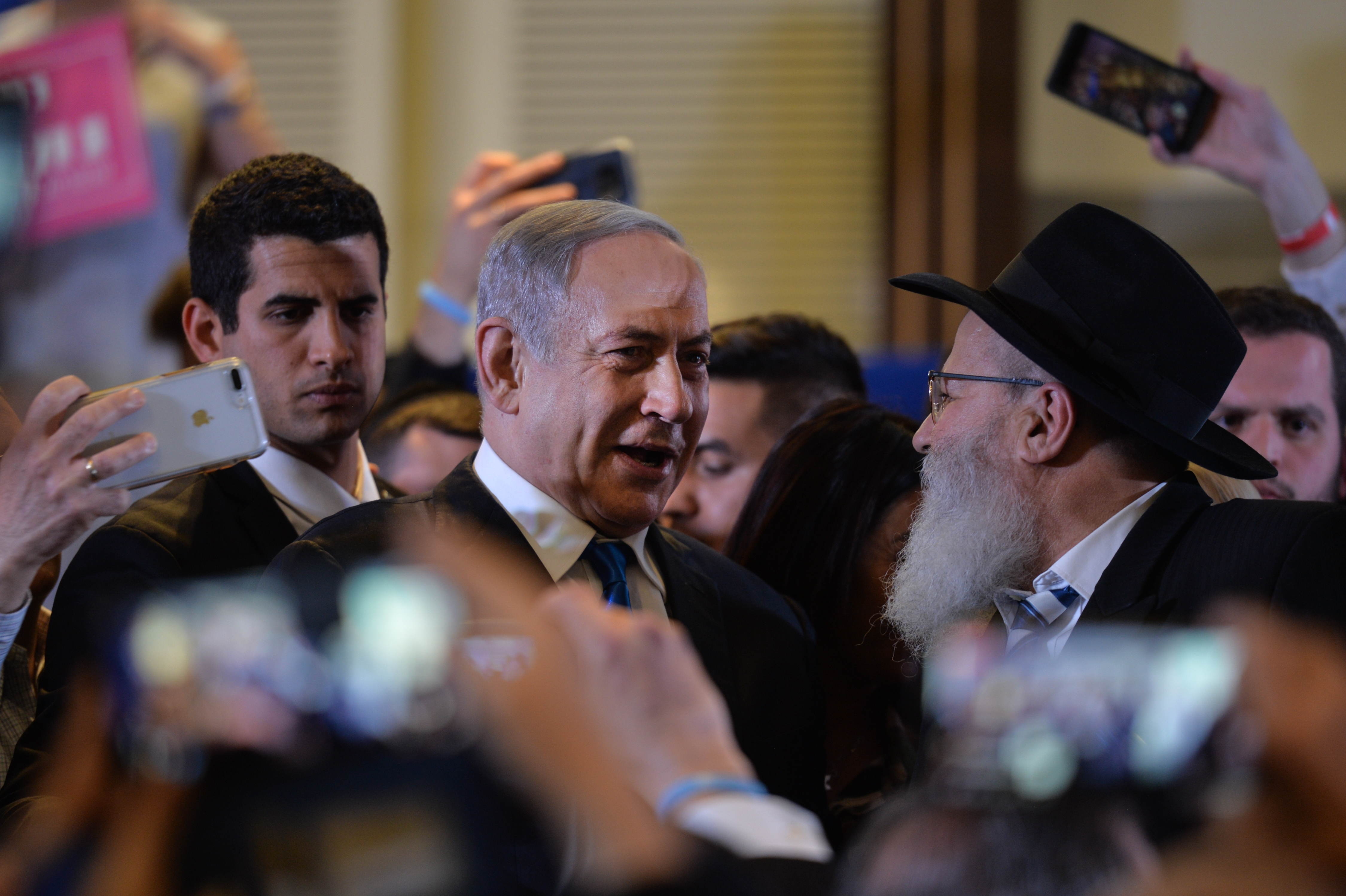 Israeli Prime Minister Benjamin Netanyahu meet his supporters during a Likud party upcoming election campaign rally in Jerusalem on Wednesday, February 26, 2020, in Jerusalem, Israel.
