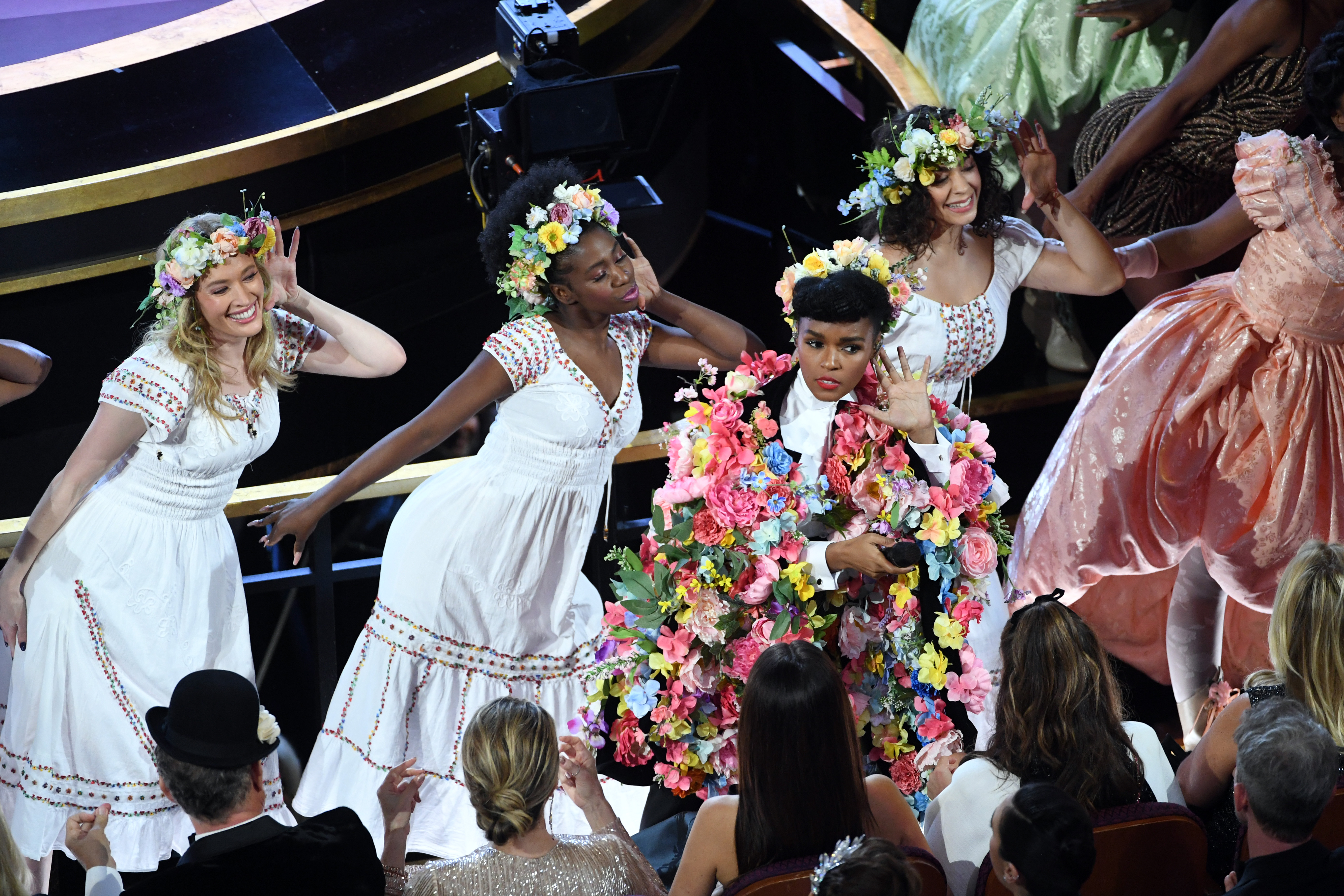 Janelle Monáe performs onstage during the 92nd Annual Academy Awards on February 09, 2020 in Hollywood, California.