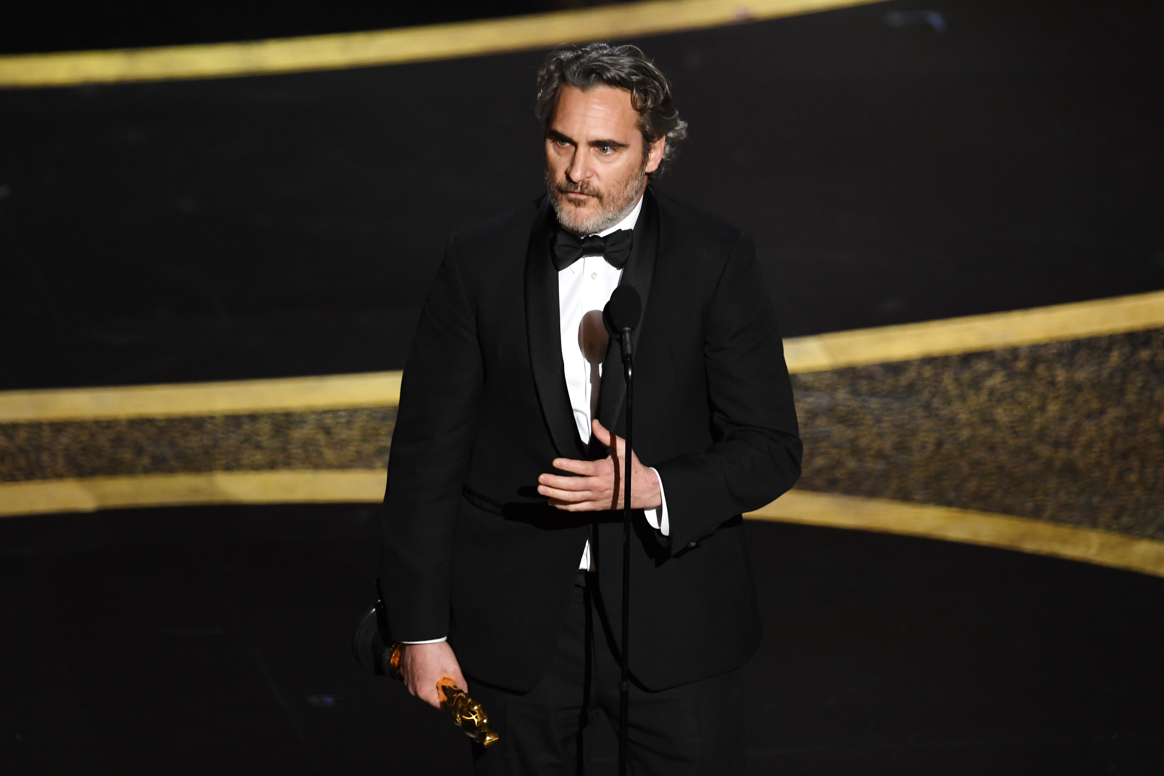 Joaquin Phoenix accepts the Actor In A Leading Role award for 'Joker' onstage during the 92nd Annual Academy Awards at Dolby Theatre on February 09, 2020 in Hollywood, California.