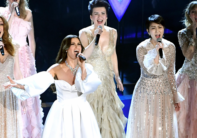 Idina Menzel, Katarzyna Łaska, and Takako Matsu at the 2020 Oscars in Hollywood, California.