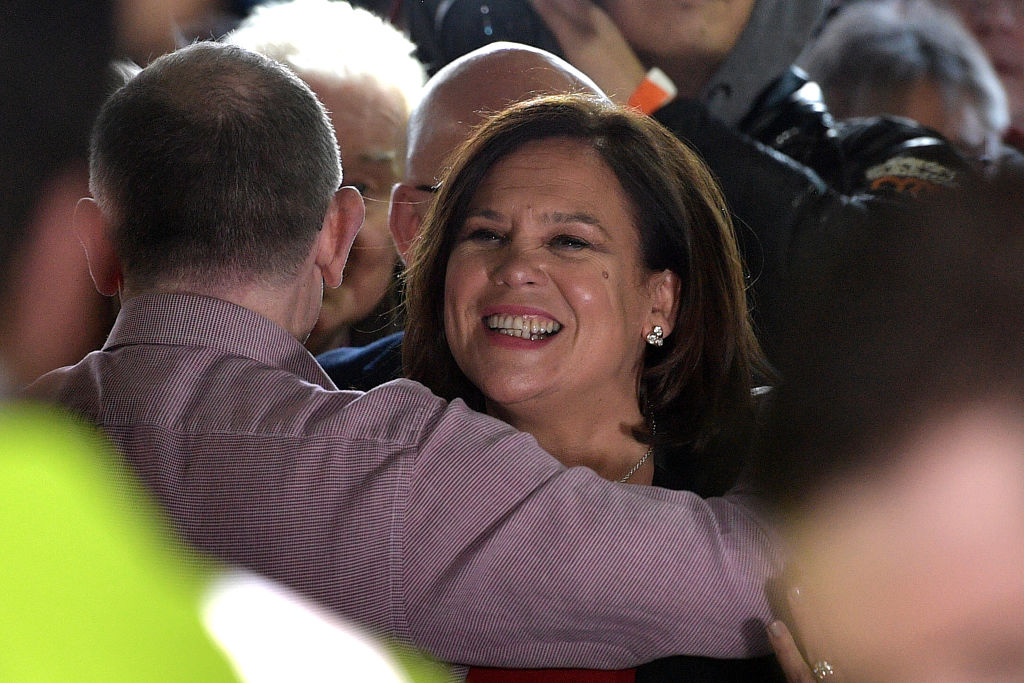 Mary Lou McDonald, President of Sinn Fein greets supporters In Dublin City Centre on February 10, 2020 in Dublin, Ireland.