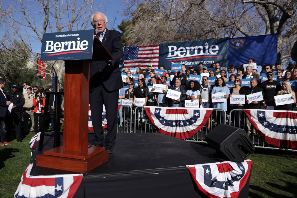 Democratic presidential candidate Sen. Bernie Sanders (I-VT) speaks during a campaign rally at University of Nevada in Las Vegas, Nevada, on February 18, 2020.