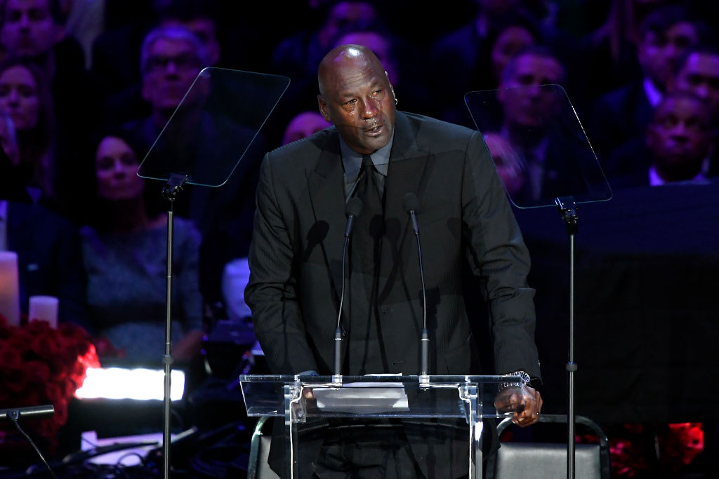 LOS ANGELES, CALIFORNIA - FEBRUARY 24: Michael Jordan speaks during The Celebration of Life for Kobe & Gianna Bryant at Staples Center on February 24, 2020 in Los Angeles, California.