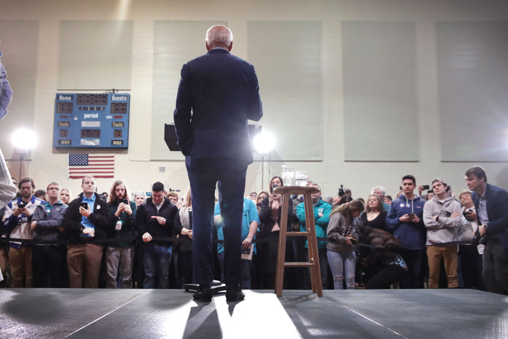 Democratic presidential candidate former Vice President Joe Biden speaks to guests during a campaign stop at Coastal Carolina University in Conway, South Carolina, on  February 27, 2020.