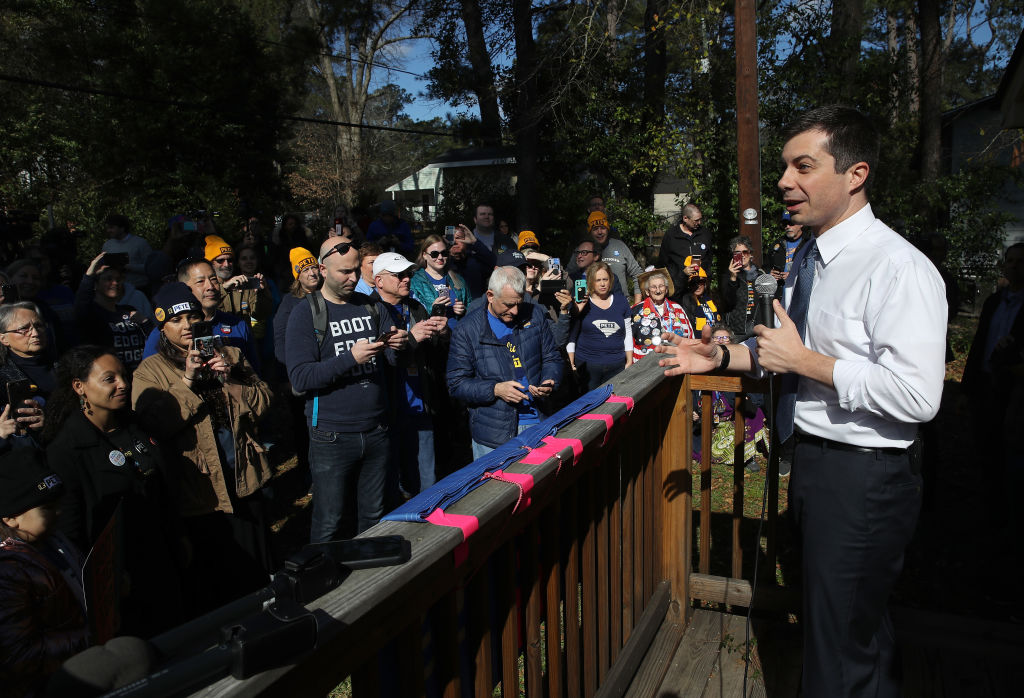 Democratic presidential candidate former South Bend, Indiana, Mayor Pete Buttigieg speaks at canvassing launch meeting at a private home in Columbia, South Carolina, on February 29, 2020.
