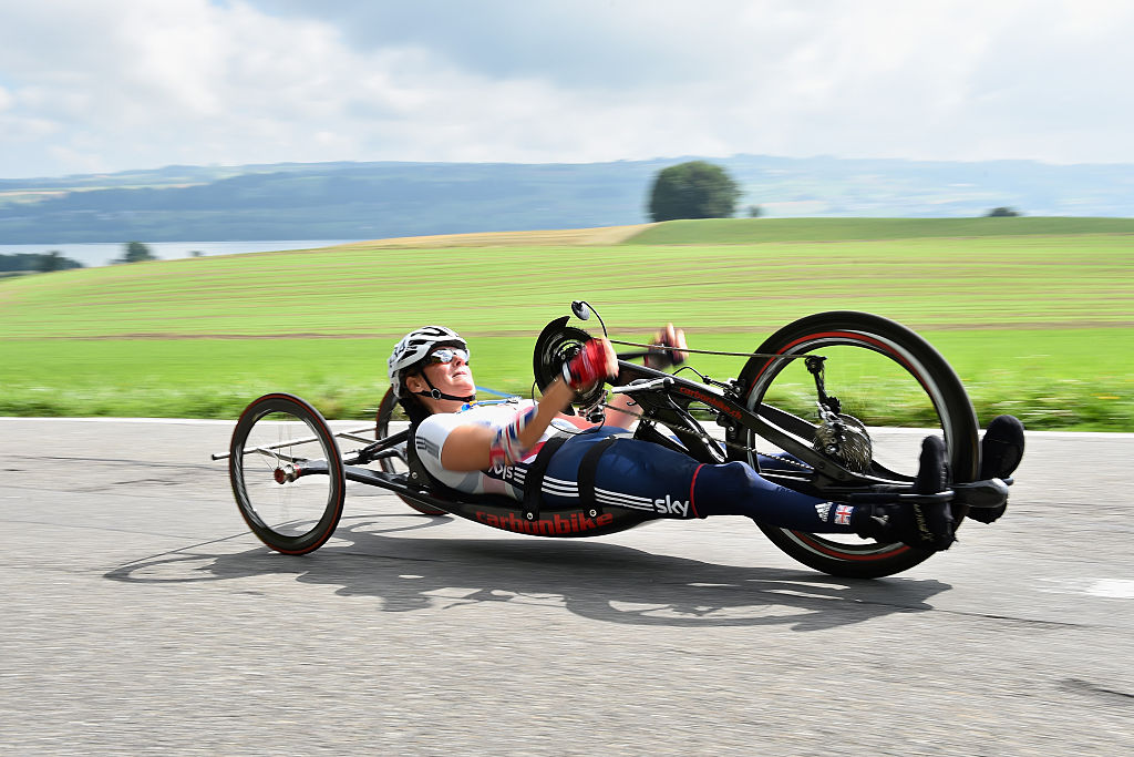 Karen Darke of Great Britain in action in the WH3 Road race during the Road Race on Day 5 of the UCI Para-Cycling Road World Championship on Aug. 2, 2015 in Lucerne, Switzerland.