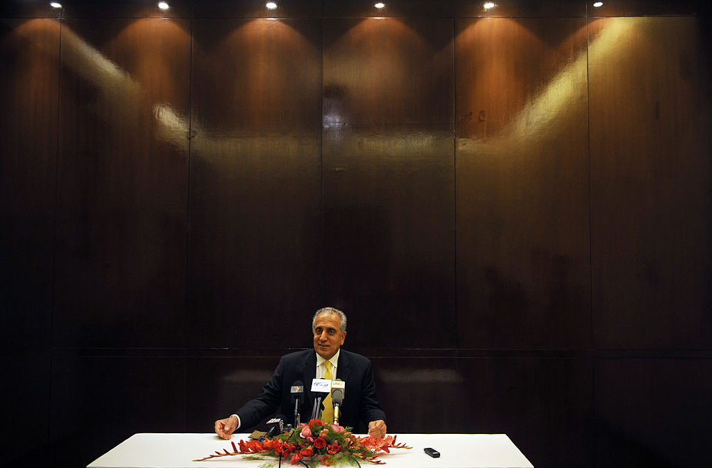 Zalmay Khalilzad gives a press conference at the Serena Hotel in Kabul, Afghanistan, on October 14, 2009.