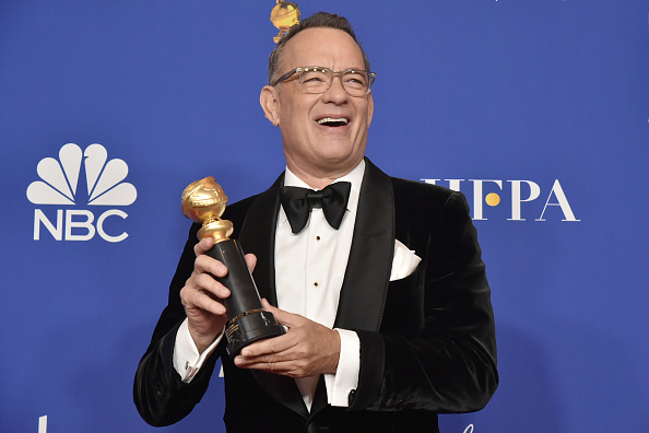 Tom Hanks poses in the press room of the 77th Golden Globes Awards at the Beverly Hilton Hotel in Beverly Hills, California on Jan. 05, 2020.