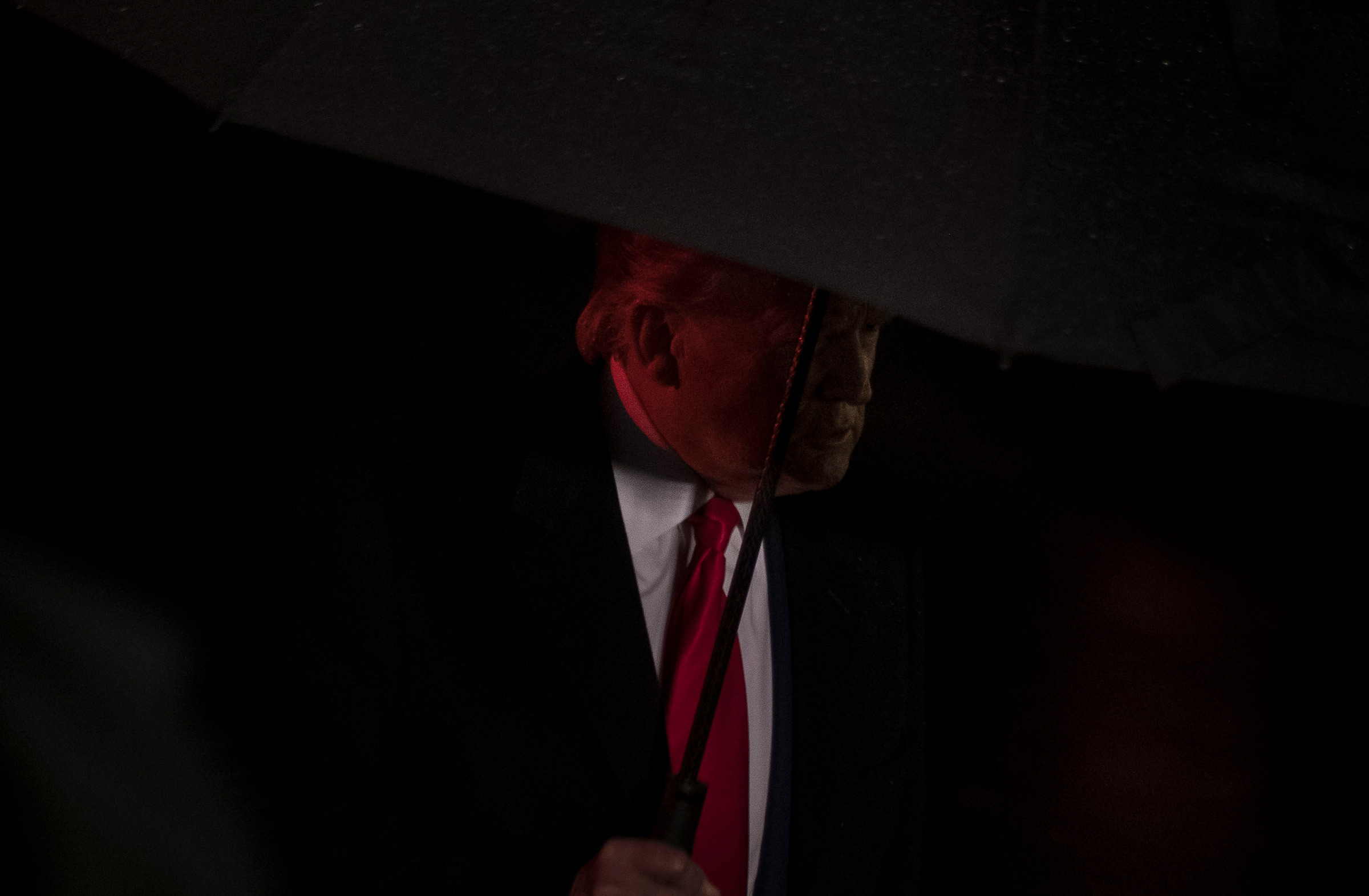 President Donald Trump speaks with reporters before boarding Marine One at the White House in Washington, D.C., Dec. 10, 2019.