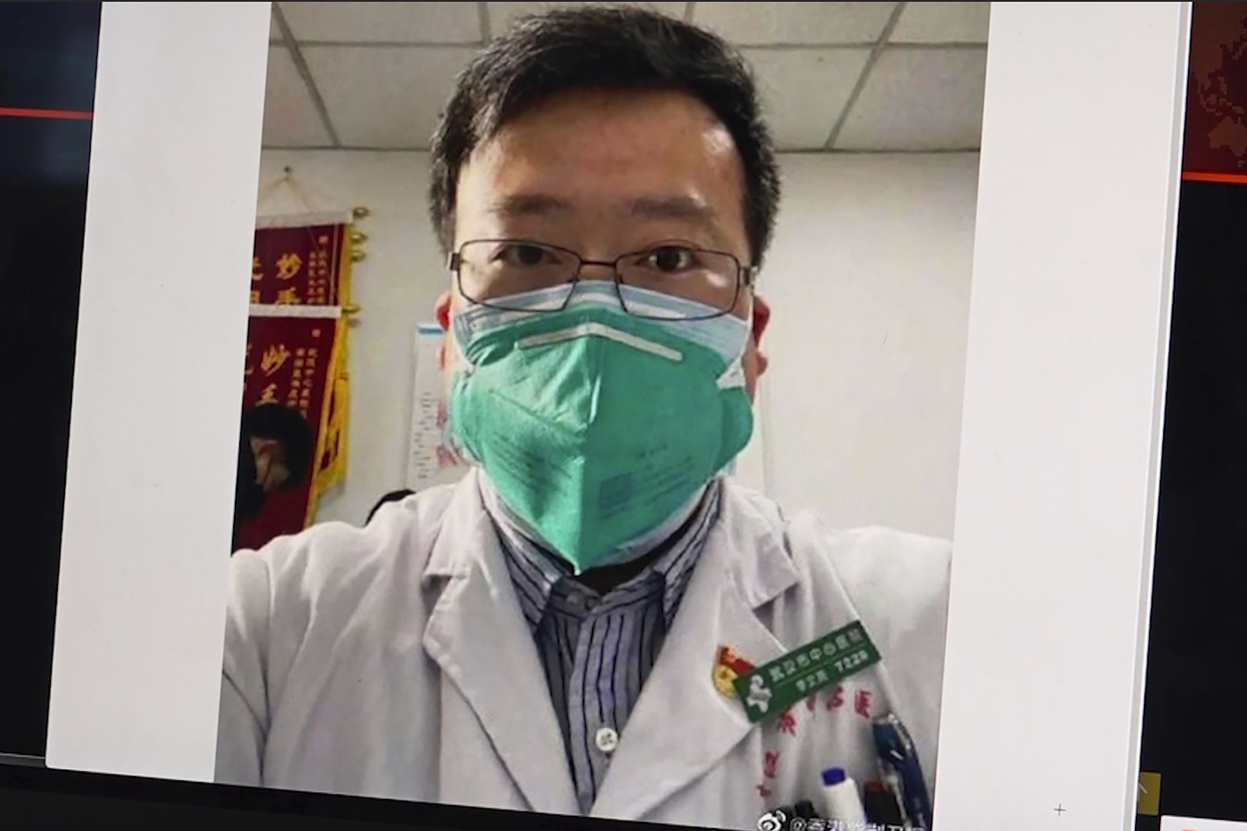 This image from video shows a selfie of Dr. Li Wenliang.