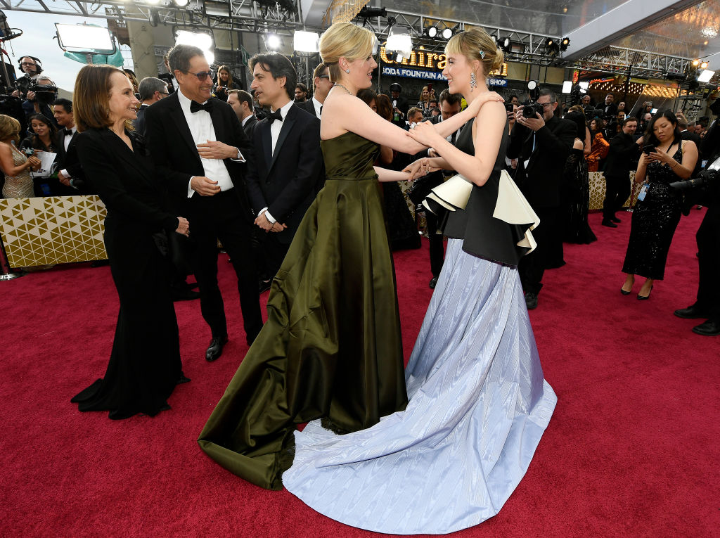 Greta Gerwig and Saoirse Ronan attens the 92nd Annual Academy Awards at Hollywood and Highland on February 09, 2020 in Hollywood, California.
