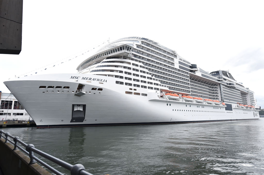 A view of MSC Meraviglia making her inaugural visit to New York City on October 7, 2019, breaking the record for the largest cruise ship to ever dock there.