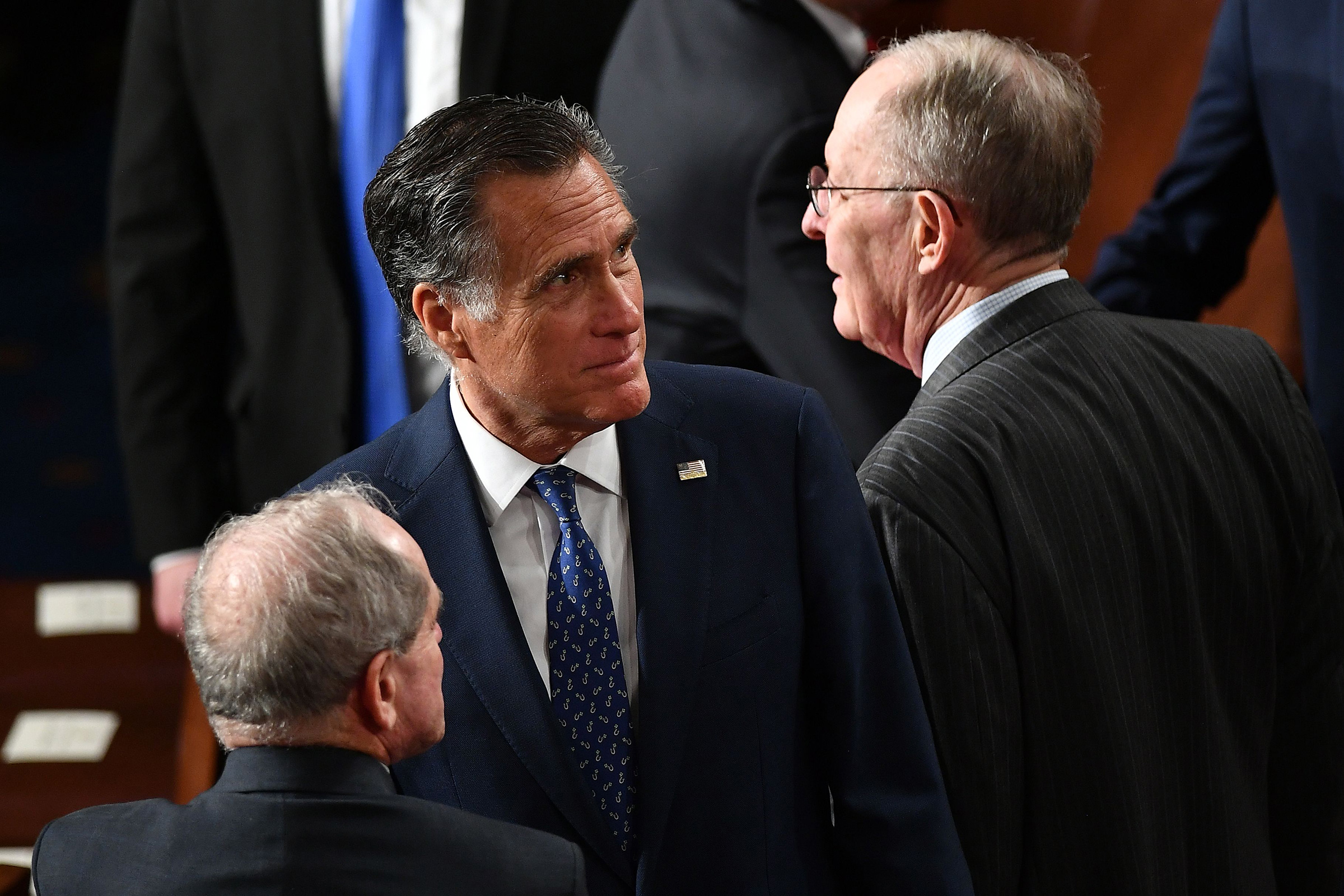 Sen. Mitt Romney seen ahead of President Donald Trump's State of the Union address at the US Capitol in Washington, DC, on Tuesday.