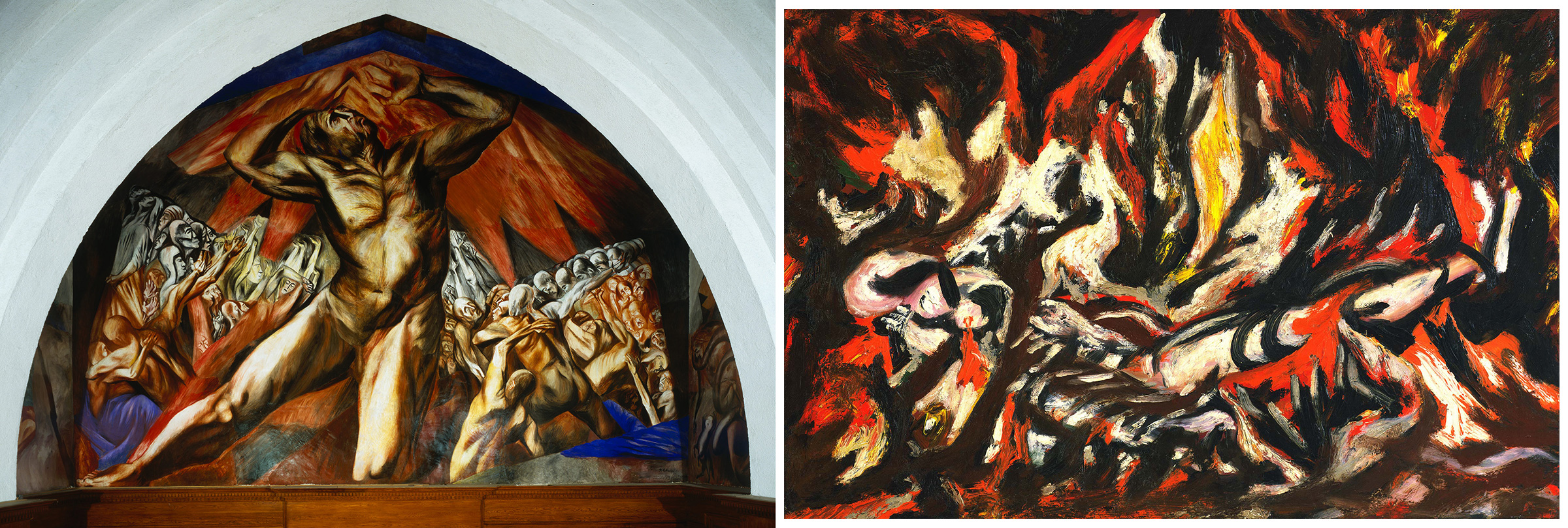 Left: José Clemente Orozco, Reproduction of Prometheus, 1930; Right: Jackson Pollock, The Flame , 1934–38