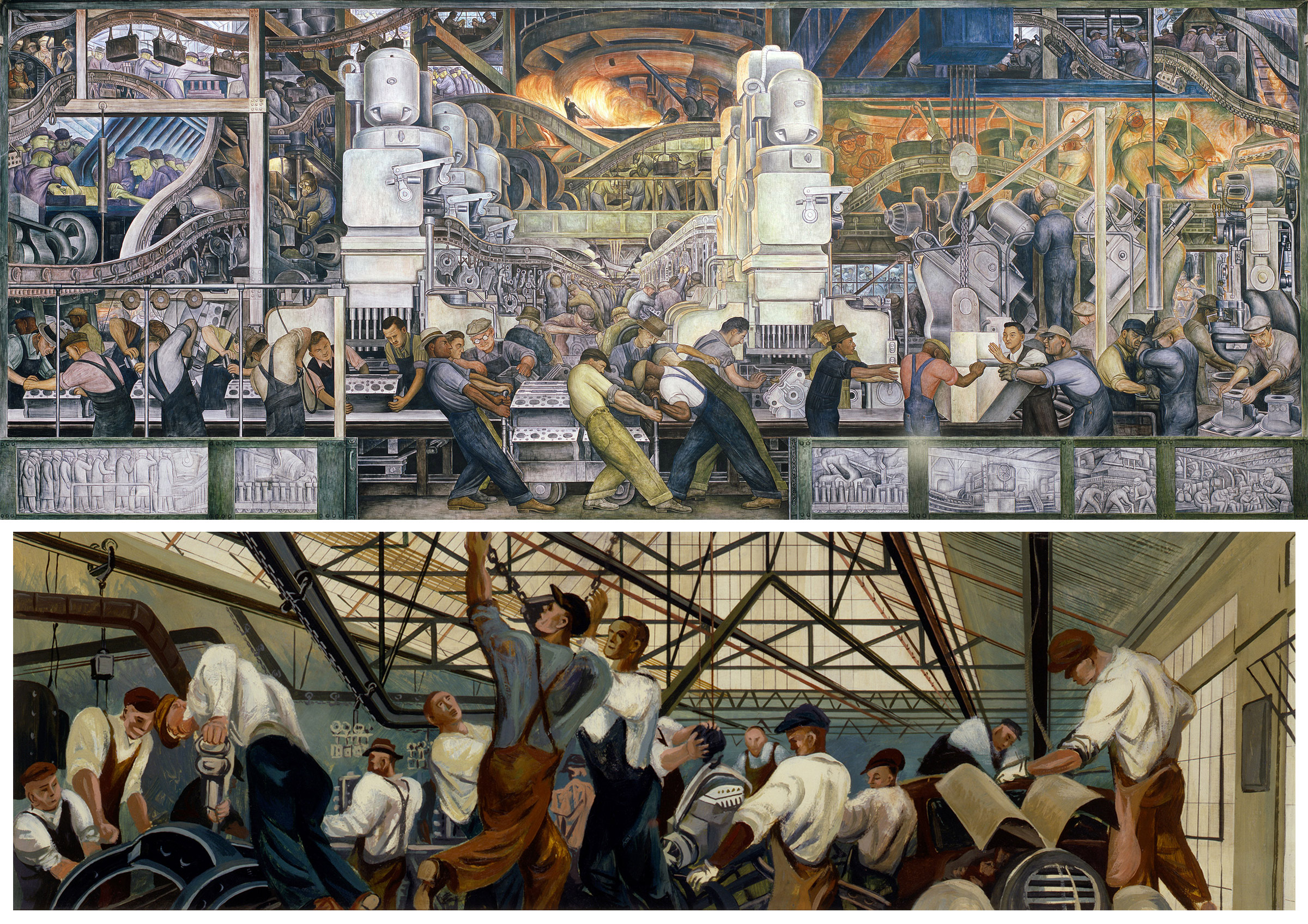 : Diego Rivera, Lower panel of Detroit Industry, North Wall, 1932–33; Bottom: William Gropper, Automobile Industry (mural study, Detroit, Michigan Post Office), 1940–41