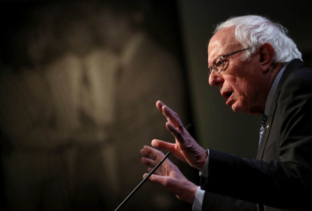 Democratic presidential candidate Sen. Bernie Sanders  speaks during Politics and Eggs at the New Hampshire Institute of Politics at St. Anselm College on February 07, 2020 in Manchester, New Hampshire.
