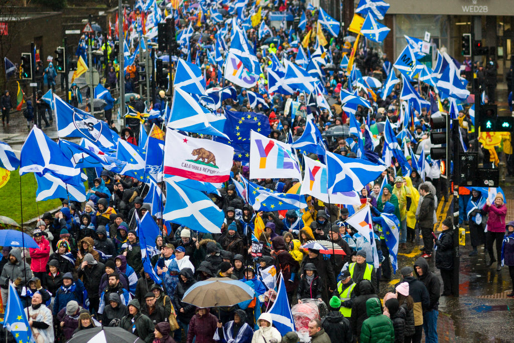 Thousands of Scottish independence supporters march through Glasgow carrying Scottish and E.U. flags on January 11, 2020 in Glasgow, Scotland.