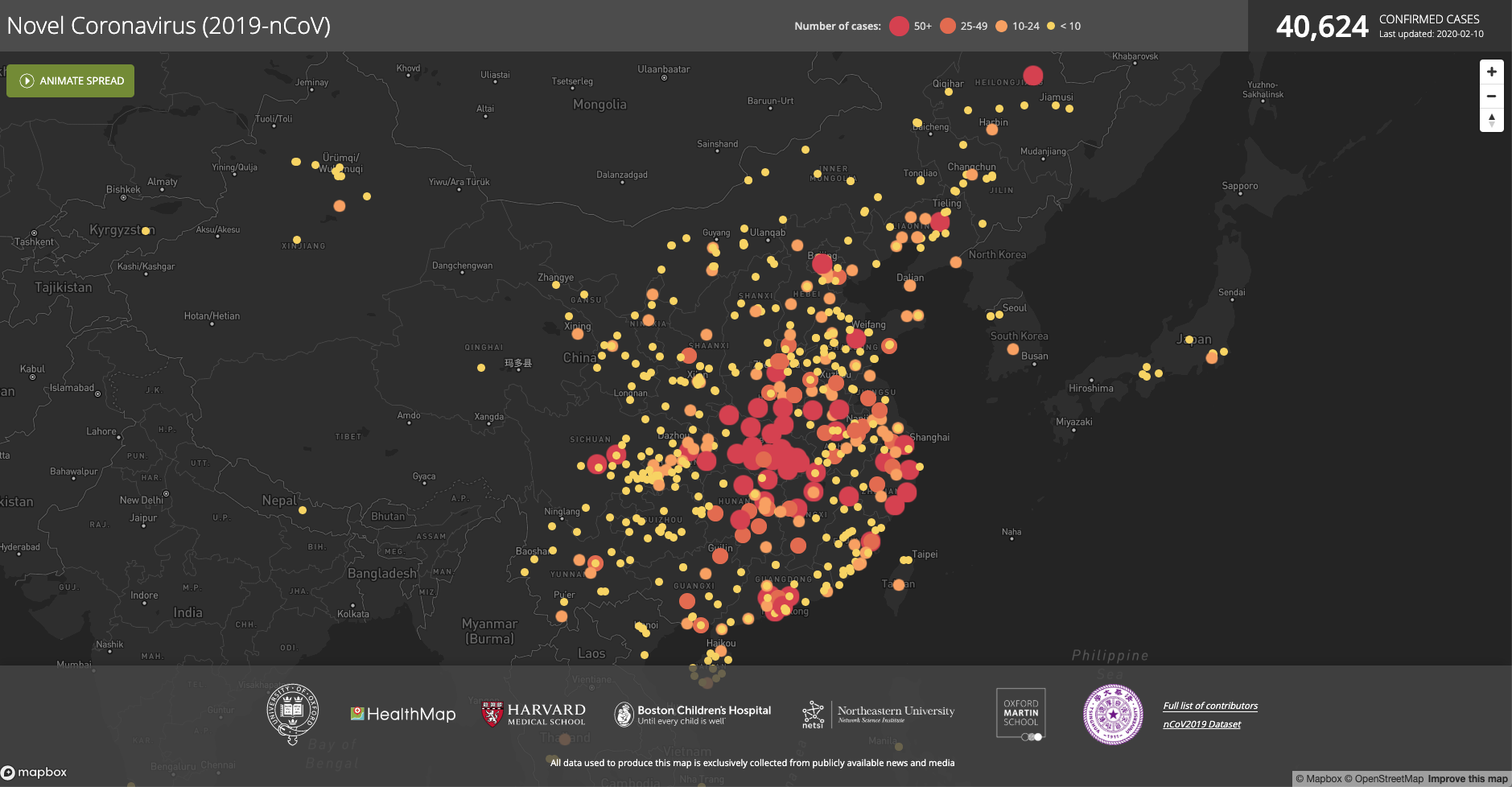 Healthmap's data visualization of 2019-nCoV's spread in China and east Asia as of February 10, 2020