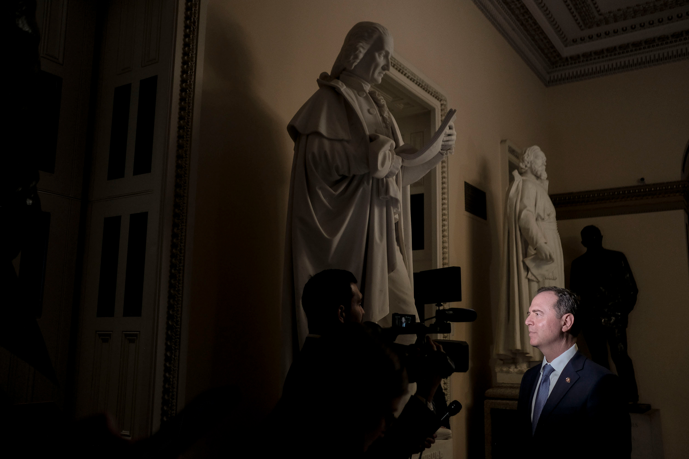 House Democrats' lead impeachment manager Rep. Adam Schiff speaks to a reporter before the Senate trial vote at the Capitol in Washington, D.C., on Feb. 5, 2020.