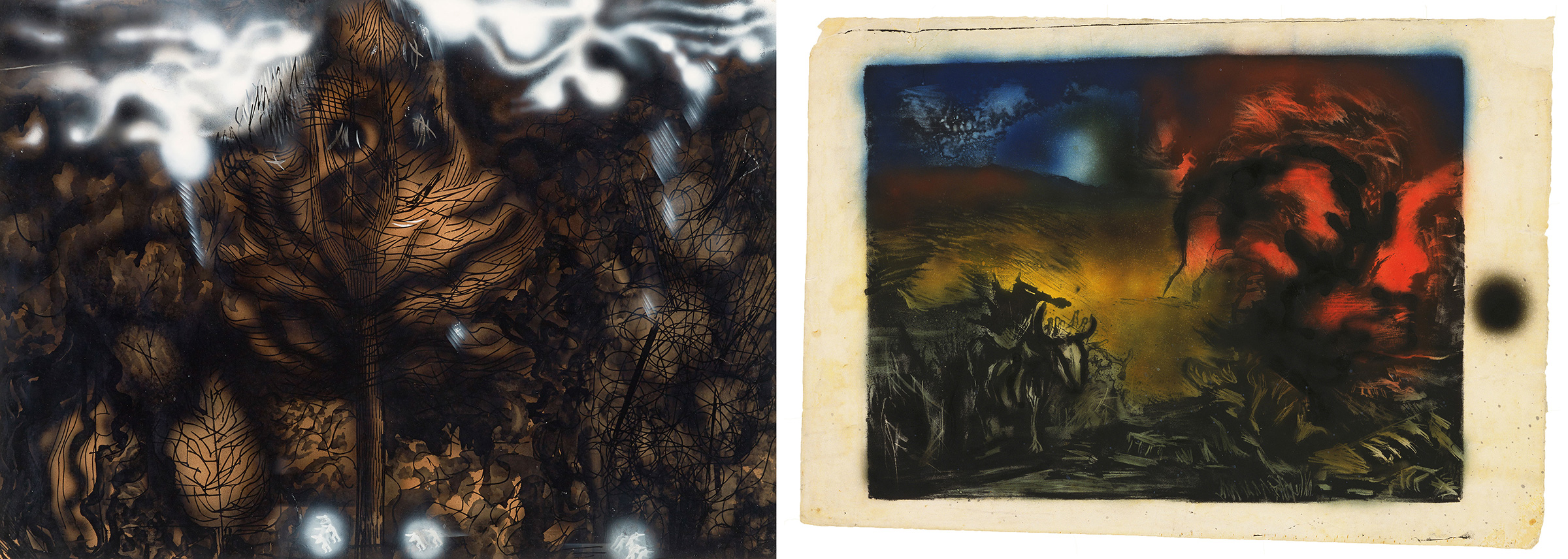 Left: David Alfaro Siqueiros, The Electric Forest, 1939; Right: Jackson Pollock, Landscape with Steer, 1936–37