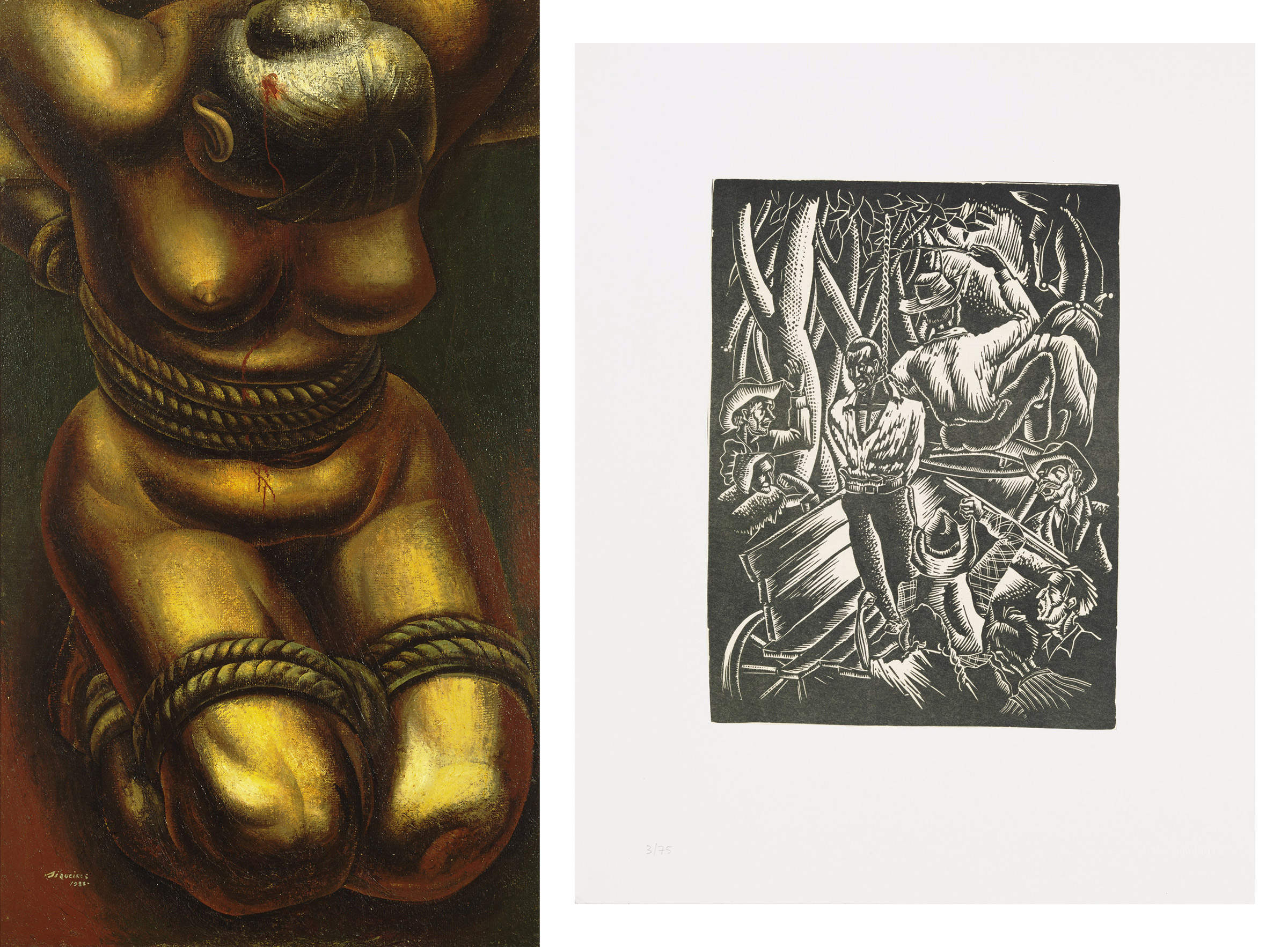 Left: David Alfaro Siqueiros, Proletarian Victim, 1933; Right: Hale Woodruff, Giddap, 1935 (printed 1996)