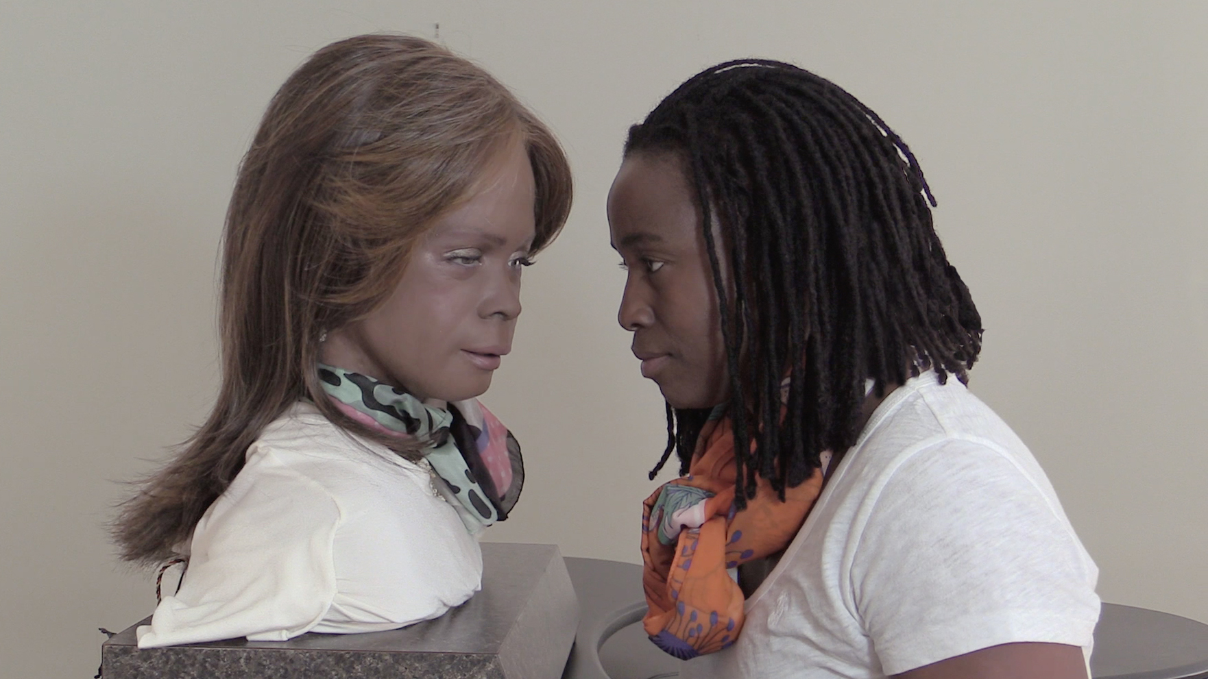 A still of Stephanie Dinkins in  Conversations with Bina48  (2014-present)