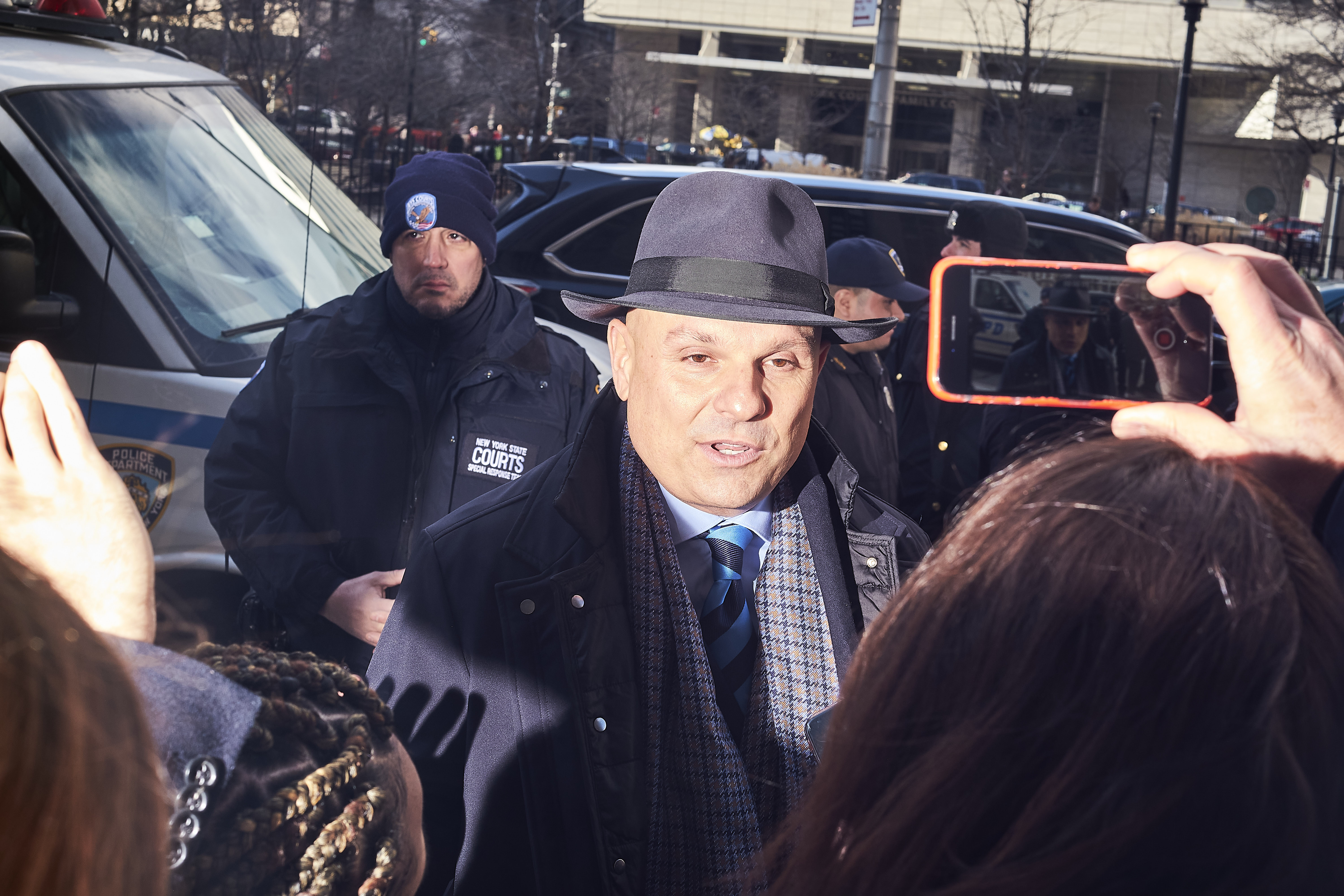 Defense lawyer Arthur L. Aidala, who represents Weinstein, speaks to journalists outside New York City Criminal Court on Jan. 8