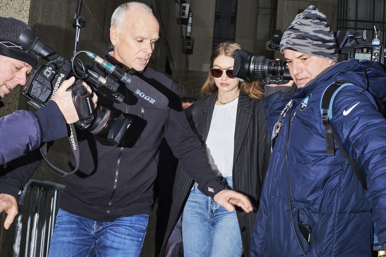 Supermodel Jelena Noura  Gigi  Hadid leaves New York City Criminal Court for jury selection in Weinstein's rape trial on Jan. 13