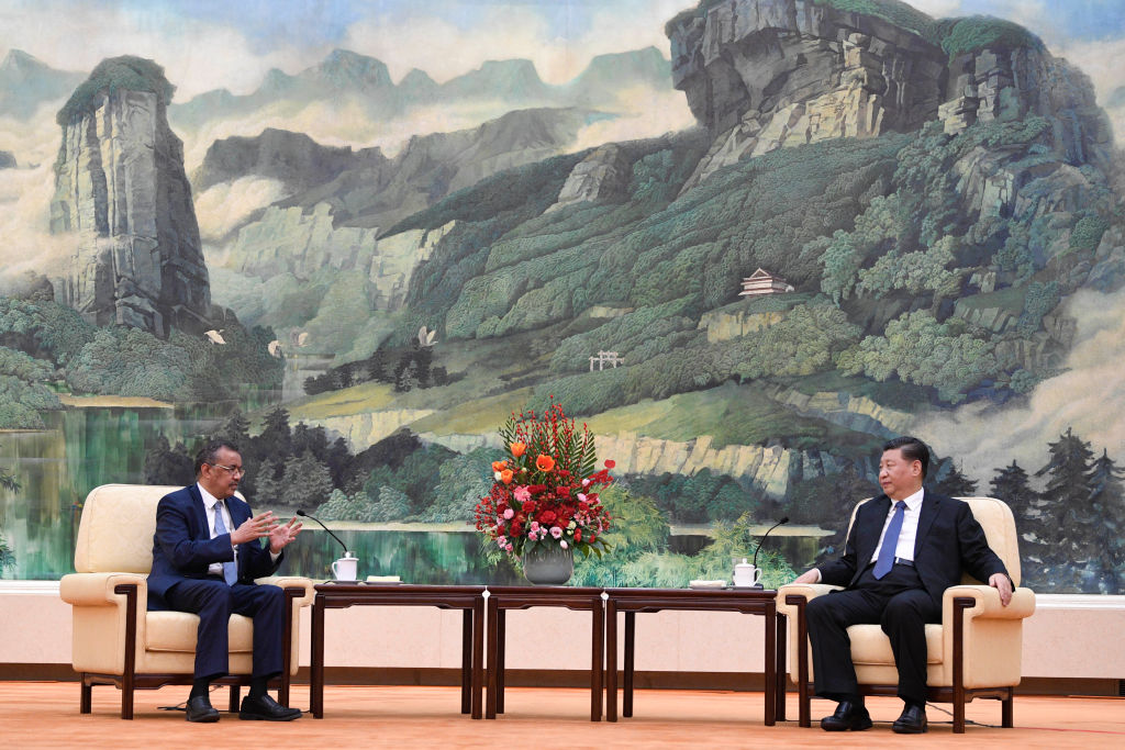 Dr. Tedros Adhanom, Director General of the World Health Organization, (L) meets with Chinese President Xi Jinping at the Great Hall of the People, on Jan. 28, 2020 in Beijing, China.