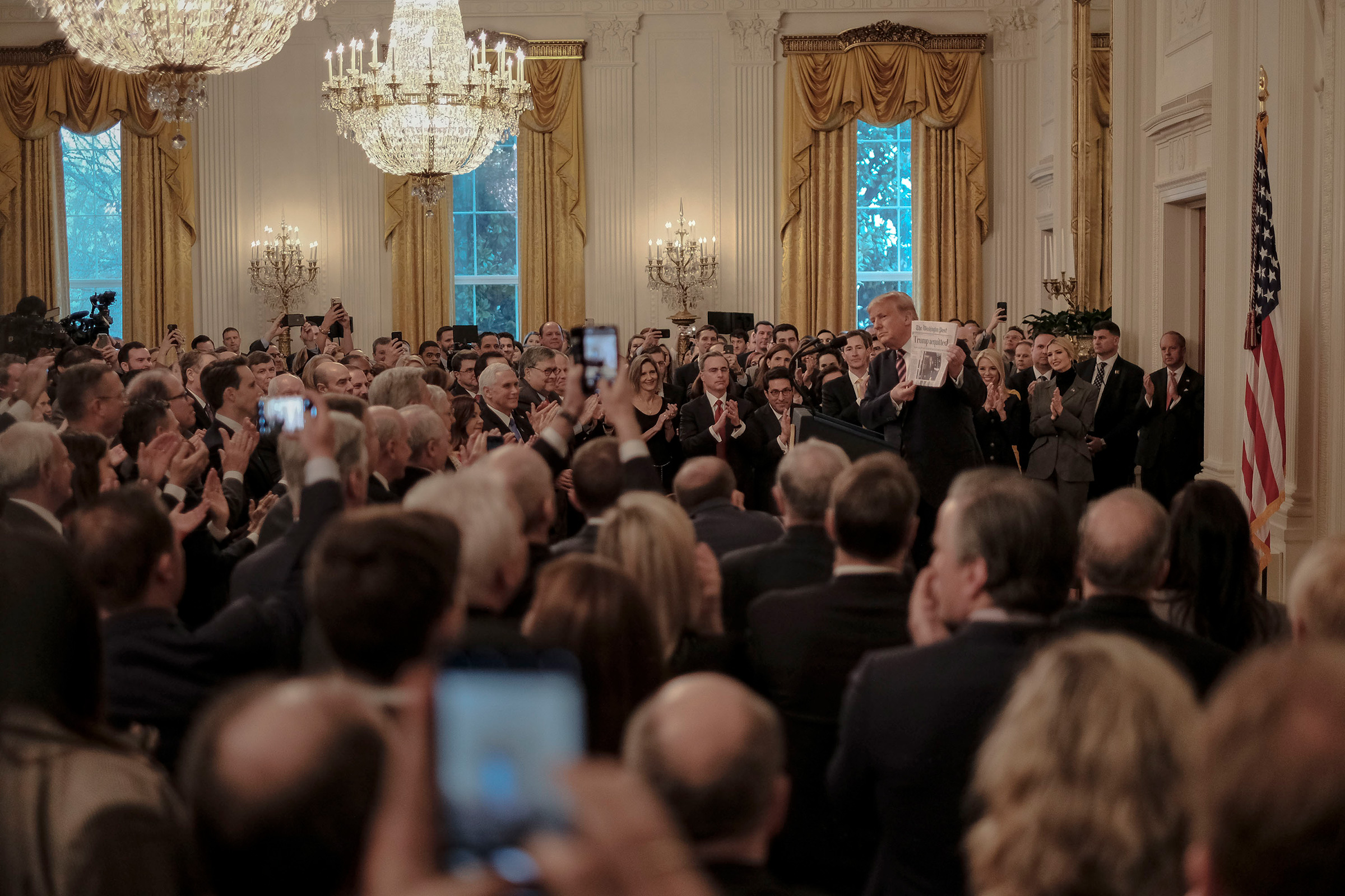 President Donald Trump speaks in the East Room of the White House in Washington, D.C., on Feb. 6, 2020, one day after the Senate acquitted him on two articles of impeachment.