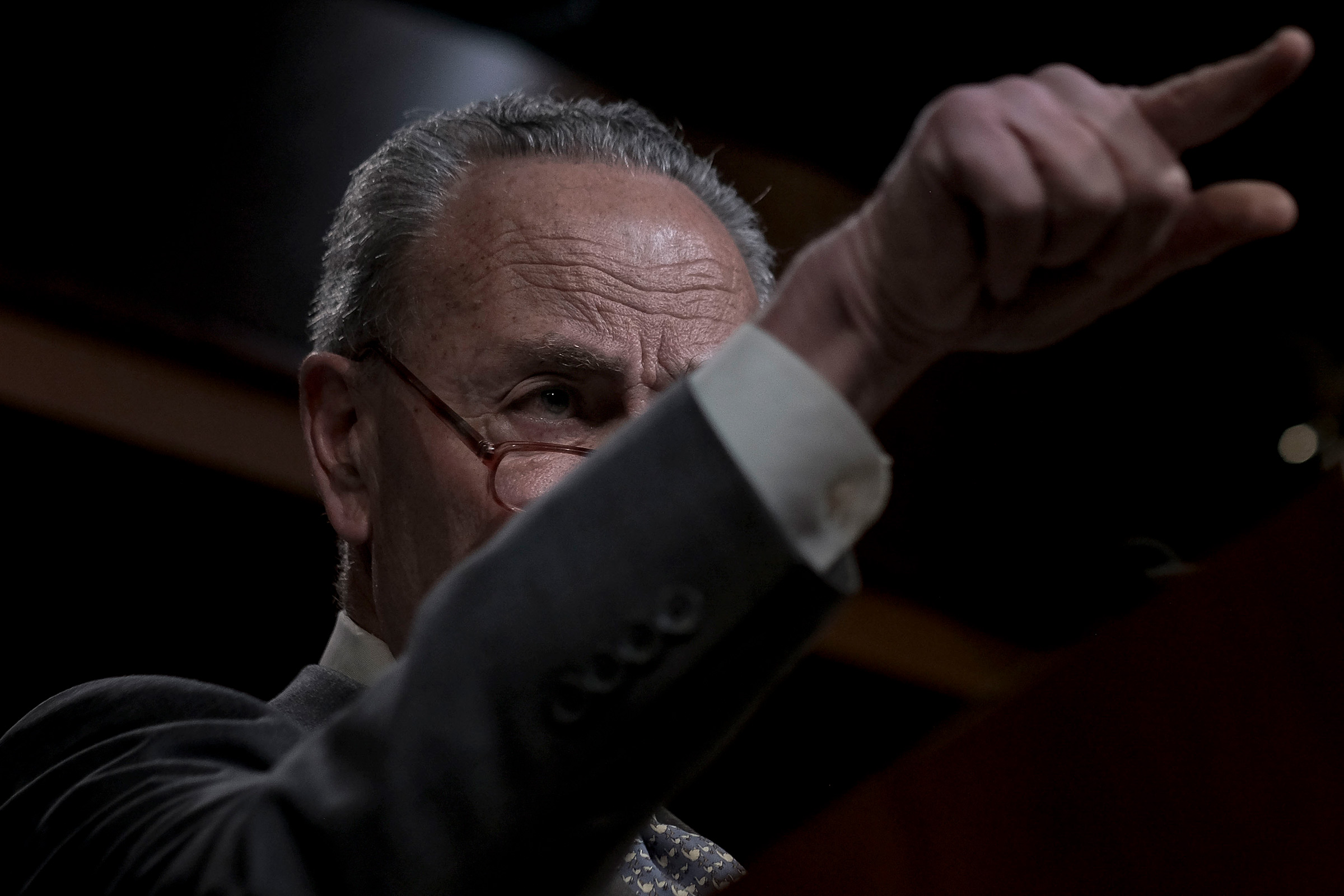 Senate Minority Leader Chuck Schumer (D-N.Y.) speaks to reporters at a press conference at the Capitol in Washington, D.C. on Jan. 27, 2020. Gabriella Demczuk / TIME