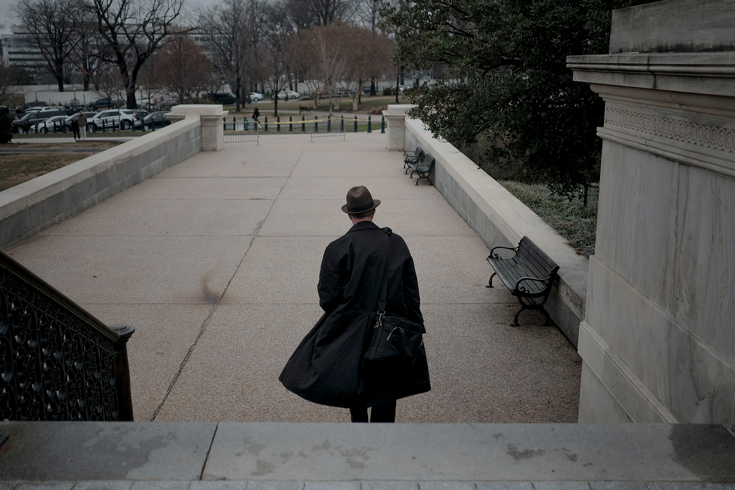 White House legislative director Eric Ueland leaves the Capitol after the impeachment trial in Washington, D.C., on Jan. 25, 2020.