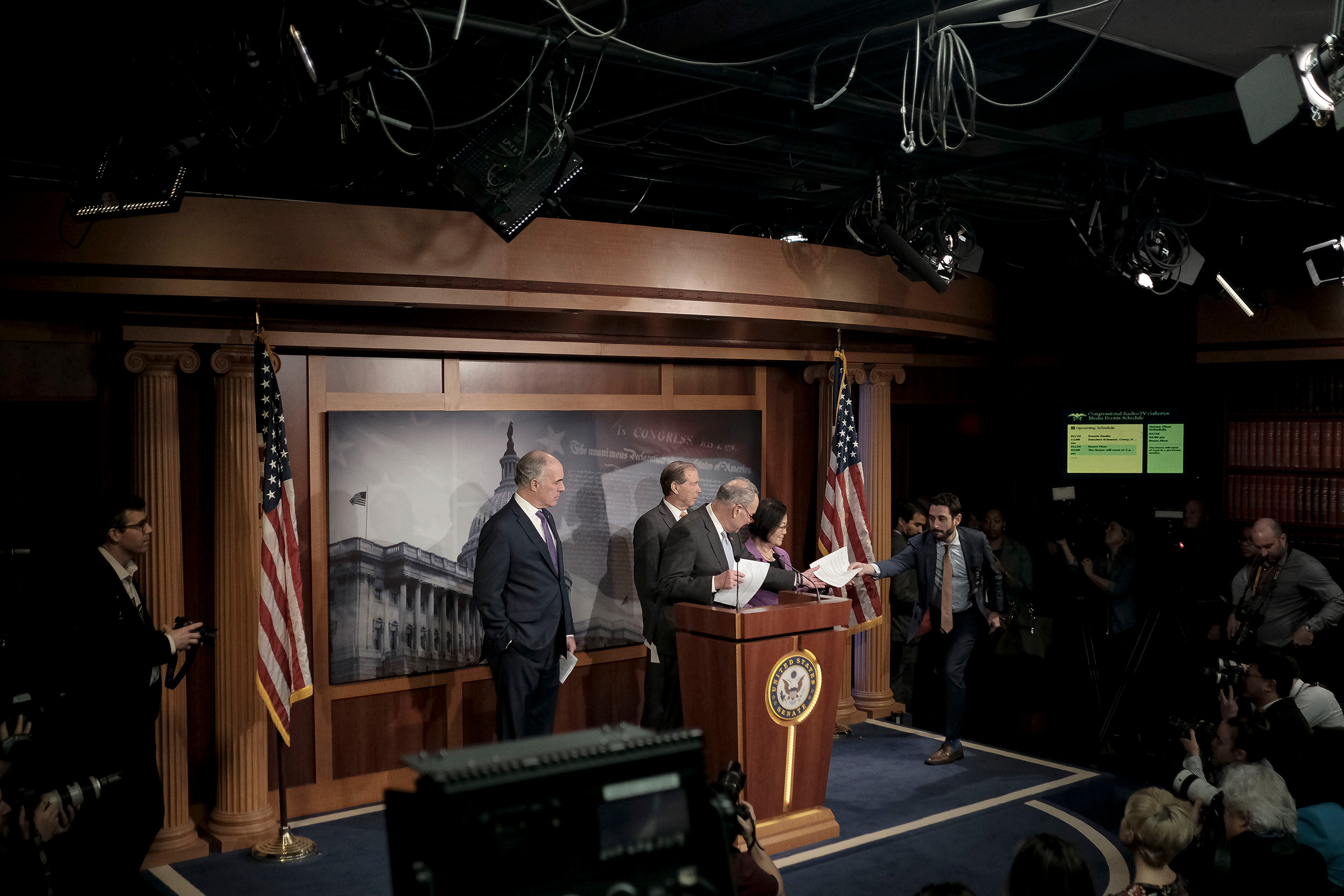 Senate Minority Leader Chuck Schumer (D-N.Y.) along with other senate democratic leaders speak to reporters at a press conference before the senate impeachment trial at the Capitol in Washington, D.C. on Jan. 23, 2020.