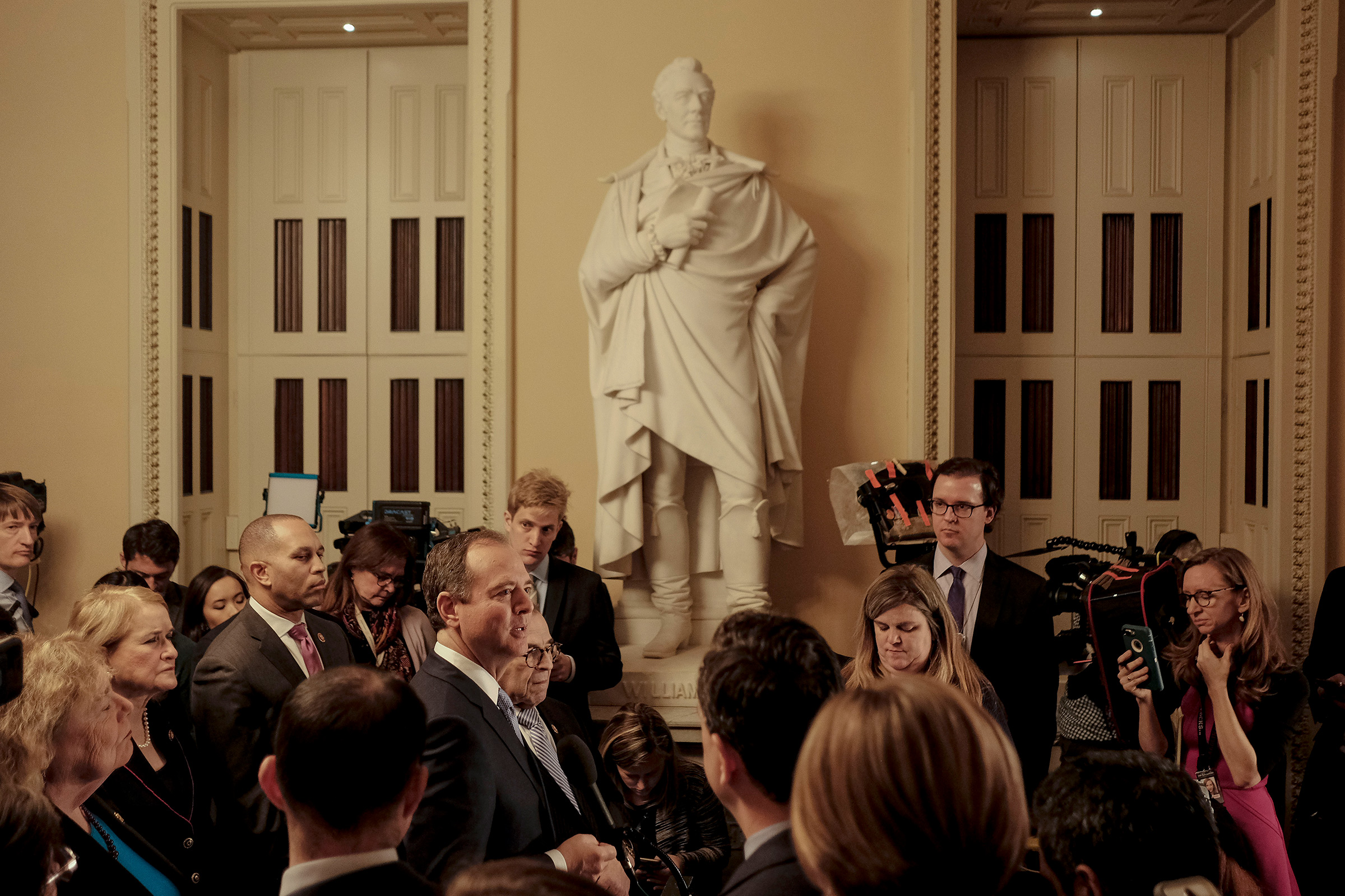 Rep. Adam Schiff, along with other House managers, speaks to reporters at a press conference before the start of the senate impeachment trial at the Capitol in Washington, D.C. on Jan. 21, 2020.