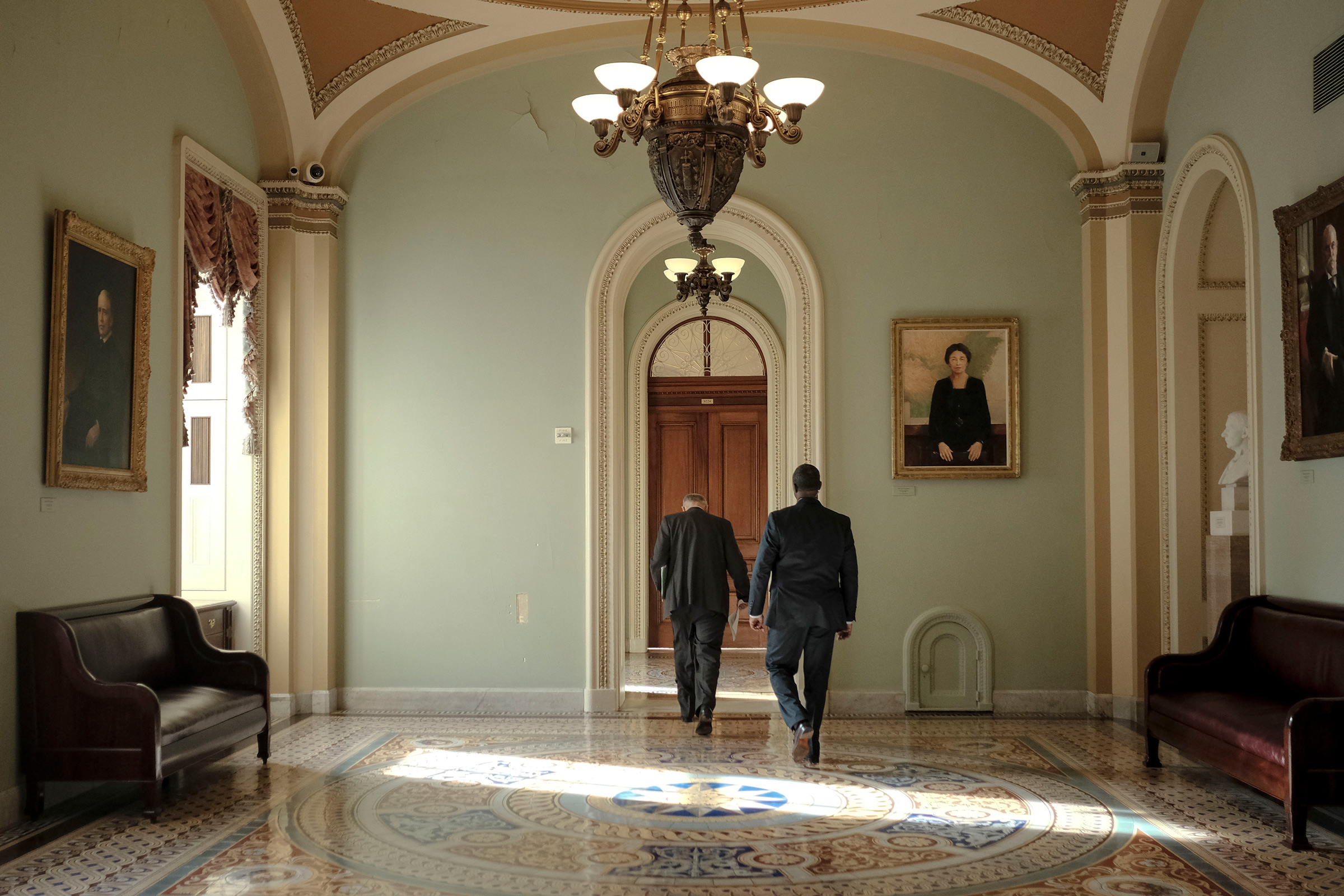 Senate Minority Leader Chuck Schumer (D-N.Y.) walks to his office before the articles of impeachment are transferred to the senate at the Capitol in Washington, D.C., on Jan. 15, 2020.